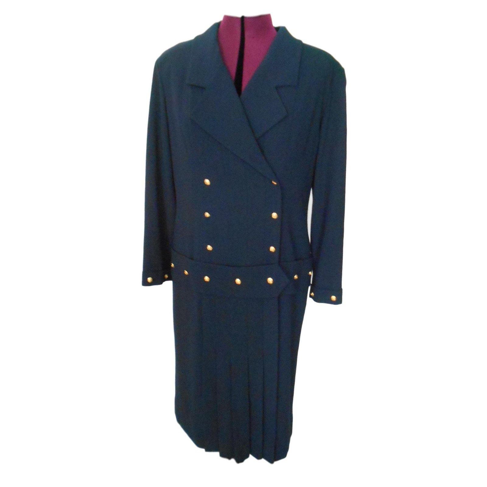 robes chanel robe style ann e 20 laine et soie laine bleu. Black Bedroom Furniture Sets. Home Design Ideas
