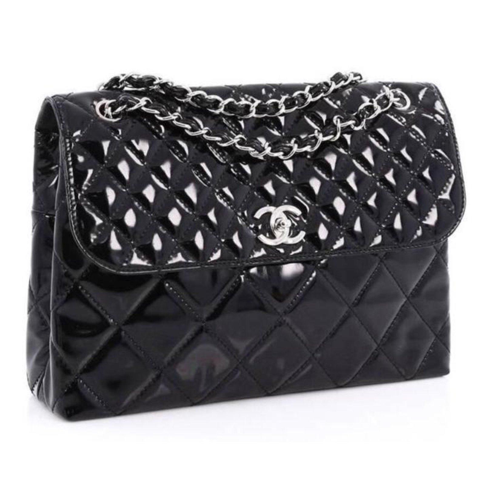 d40124d9f9cf Chanel Business flap maxi bag Handbags Patent leather Black ref.73652