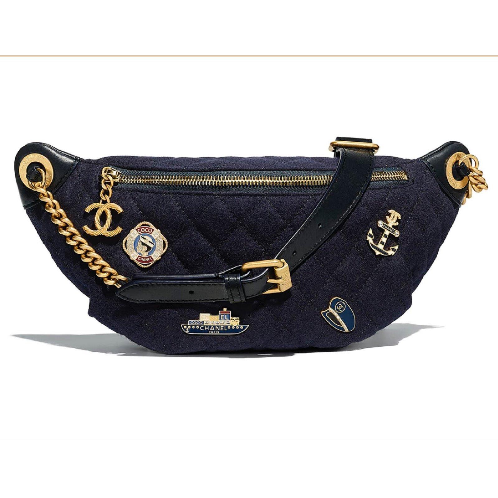 d80d44c64f57bc Chanel CHANEL Belt 2018 Bag Handbags Wool Navy blue ref.74157 - Joli ...