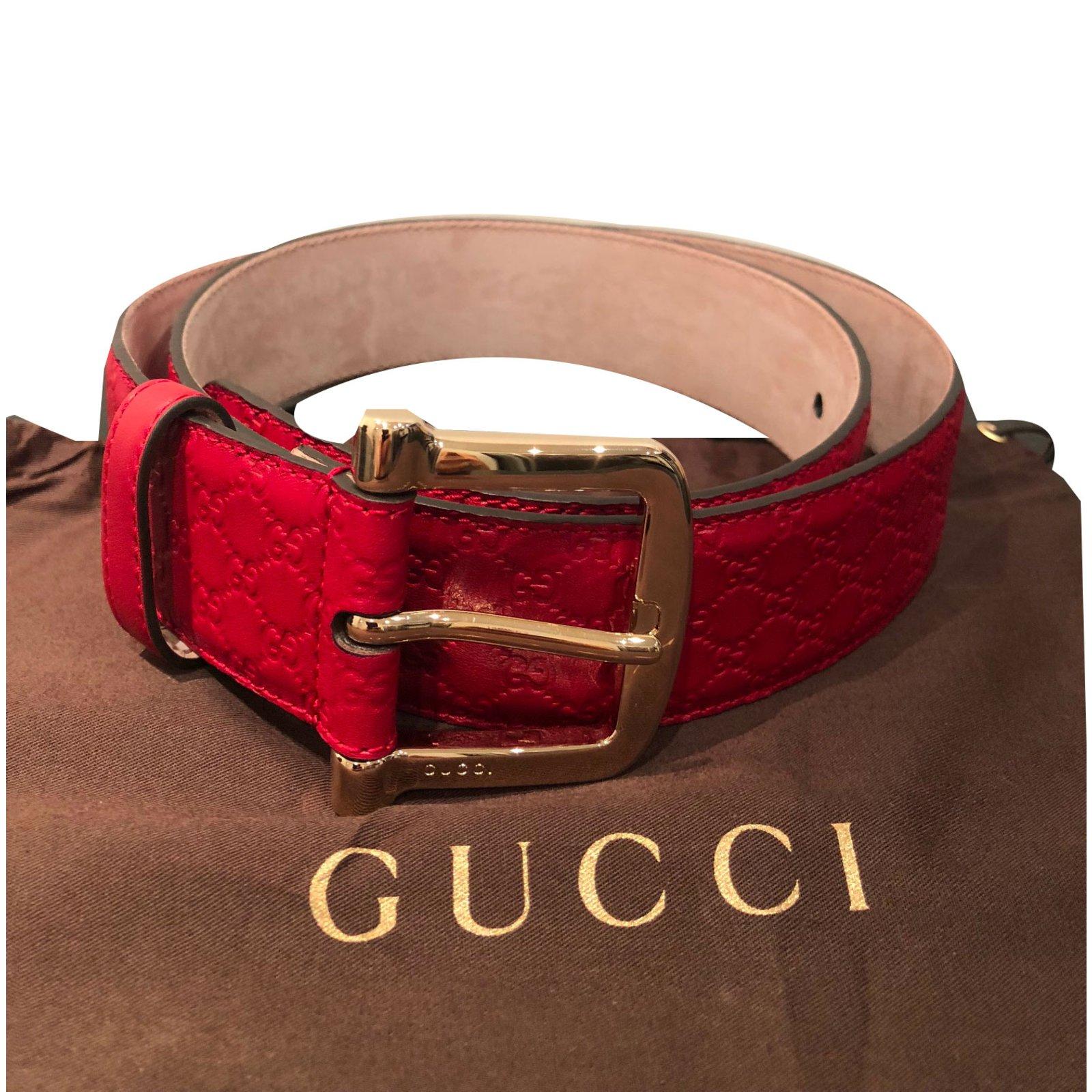 ea535d45f3c53 Gucci belt Belts Leather Red ref.74314 - Joli Closet
