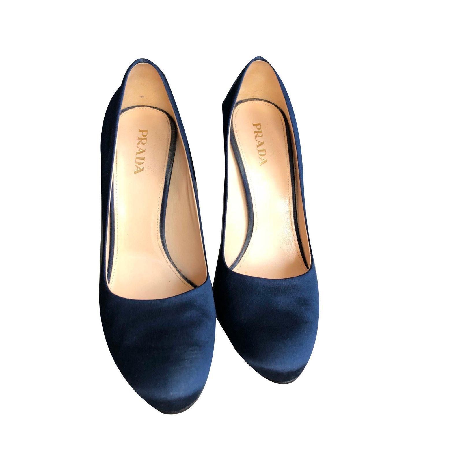 Prada Heels Heels Satin Navy blue ref