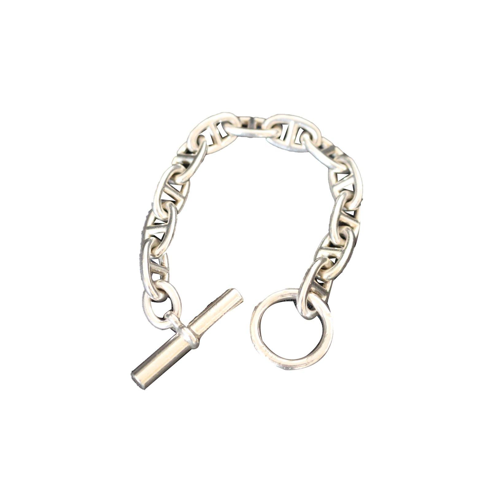 fe8b4770076 Bracelets Hermès Chaîne d ancre Argent Argenté ref.74663 - Joli Closet