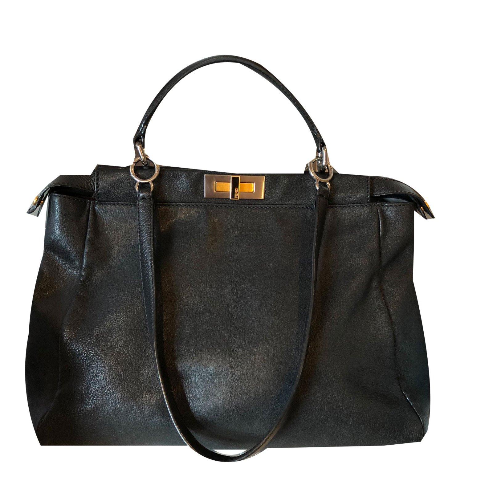 Fendi Peekaboo Handbags Patent leather Black ref.75292 - Joli Closet ce09cd854393d