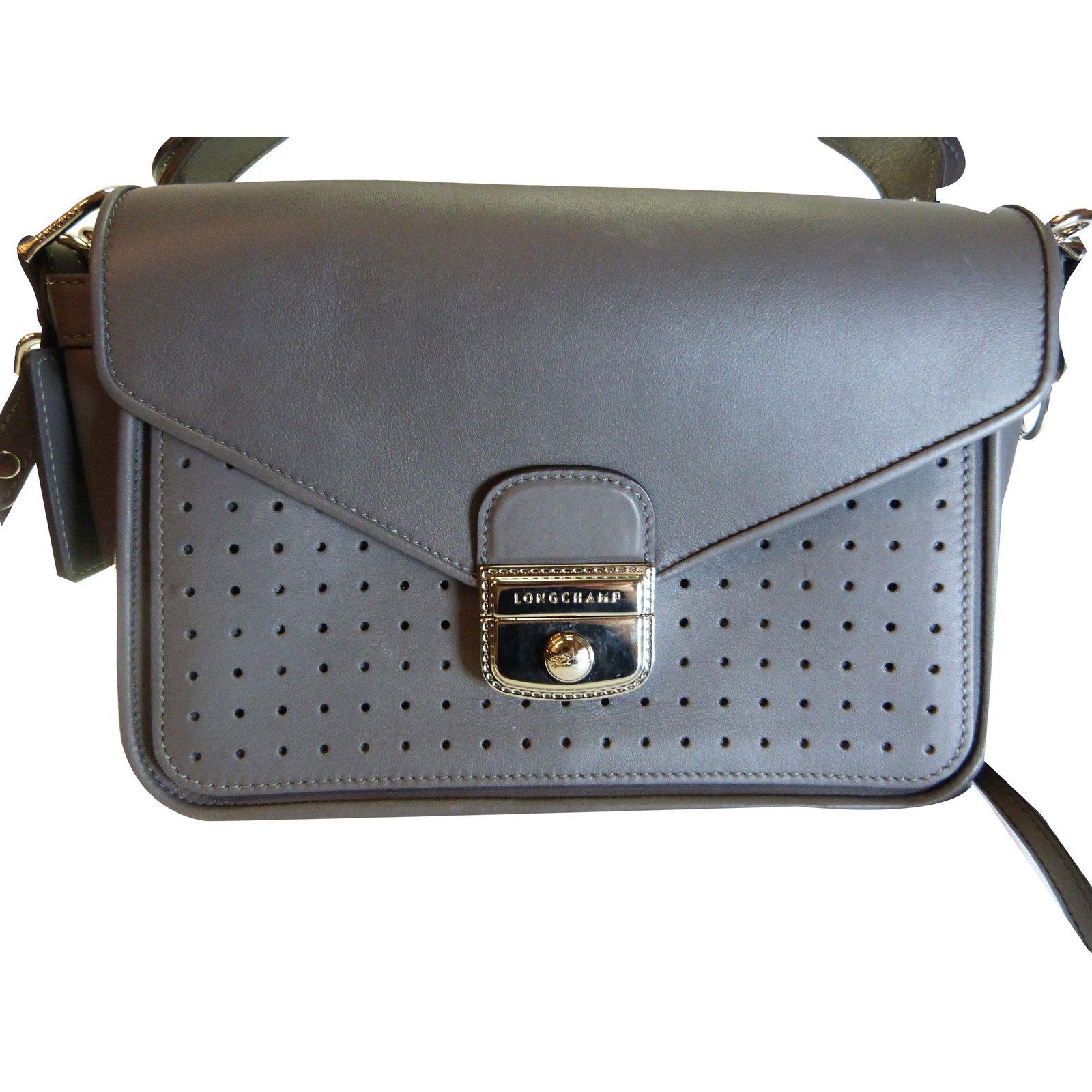 Longchamp Handbags Handbags Leather Grey Ref 75486 Joli Closet