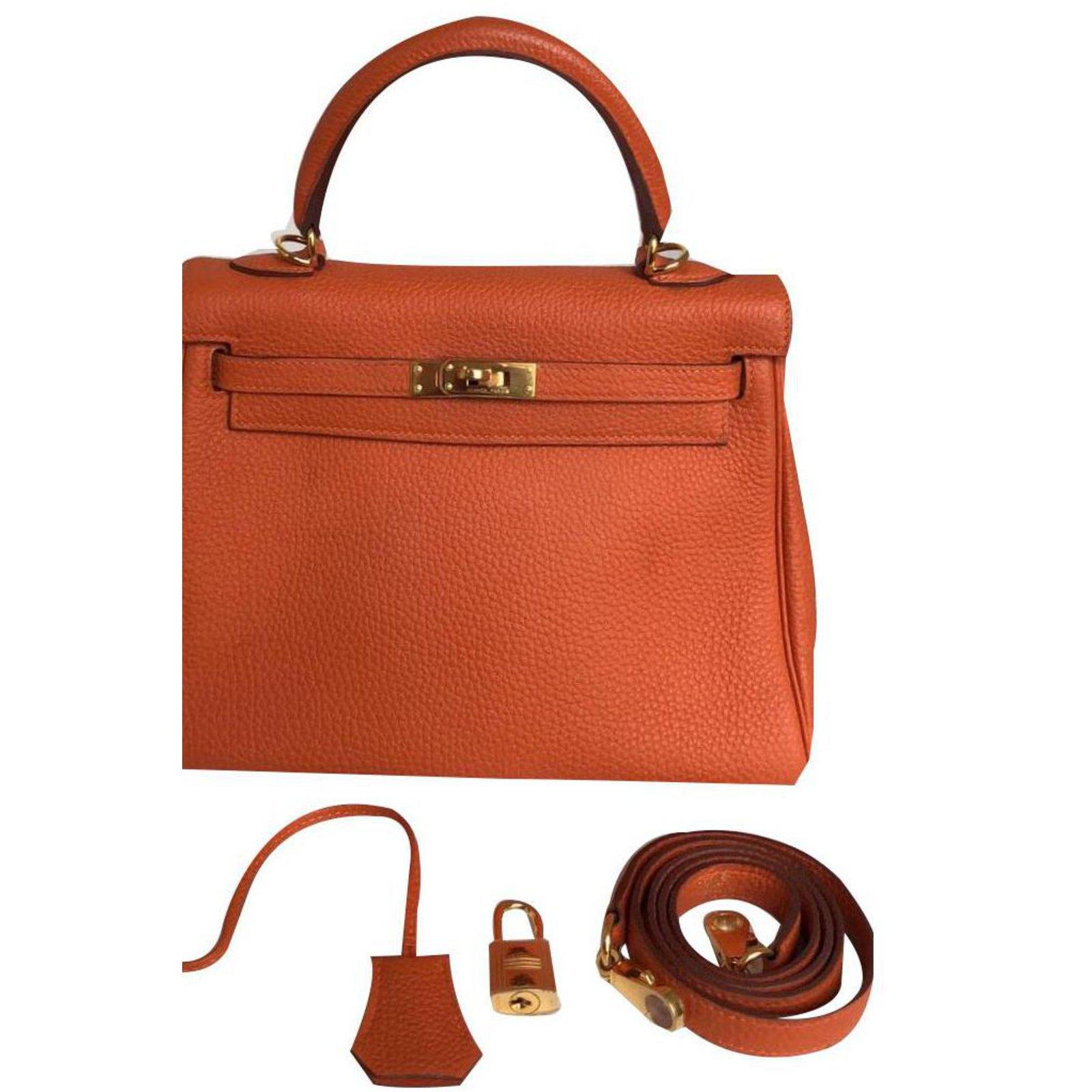 ba3a996b5a33 Hermès Kelly 25 Handbags Leather Orange ref.76108 - Joli Closet