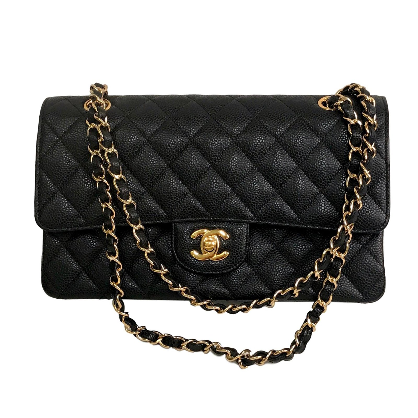 Chanel Caviar Double Flap Medium Bag Handbags Leather Black Ref 76707