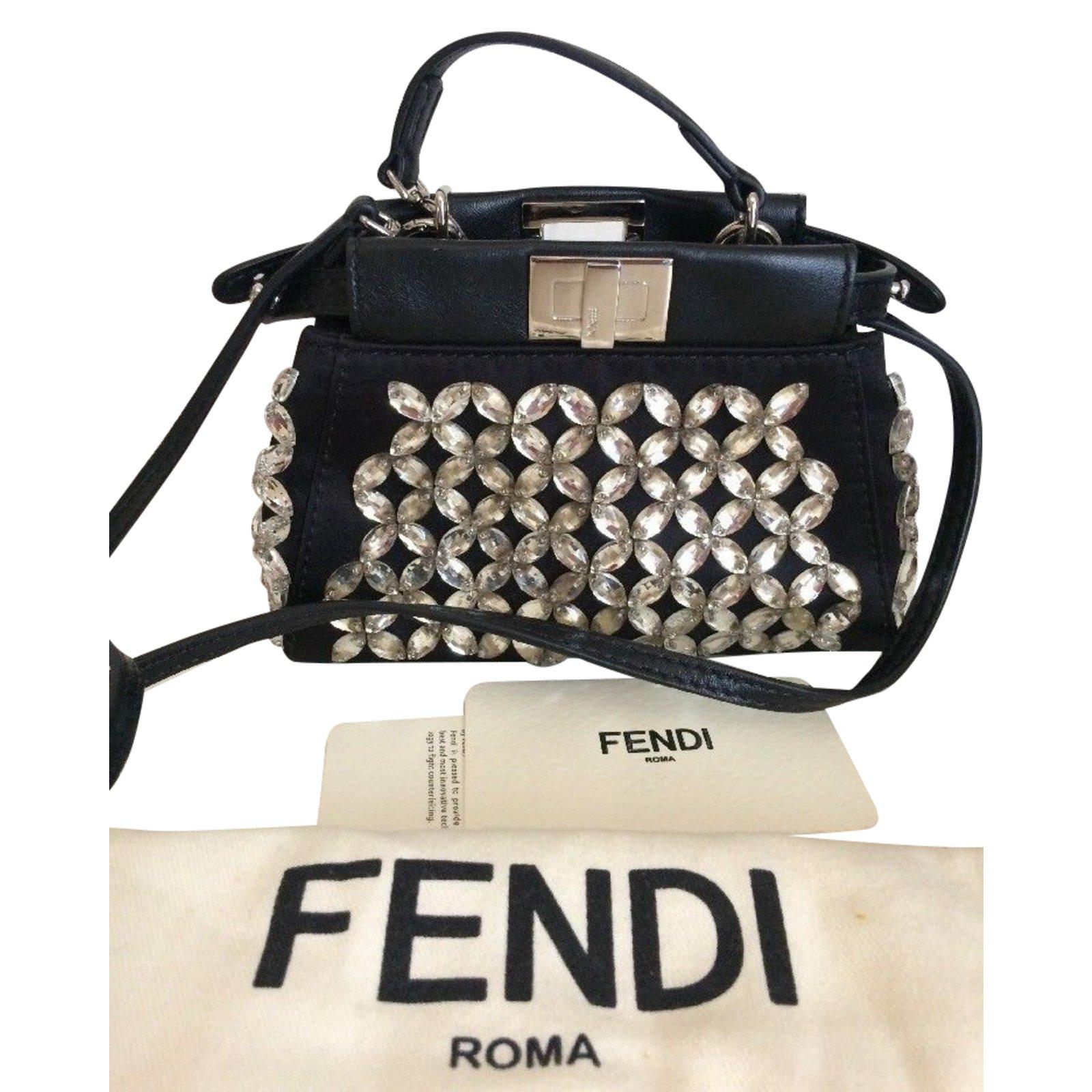 ... authentic fendi micro peekaboo crystal handbags leathersatin black ref.76857  8cd28 e11cd ... 6181addae5baf