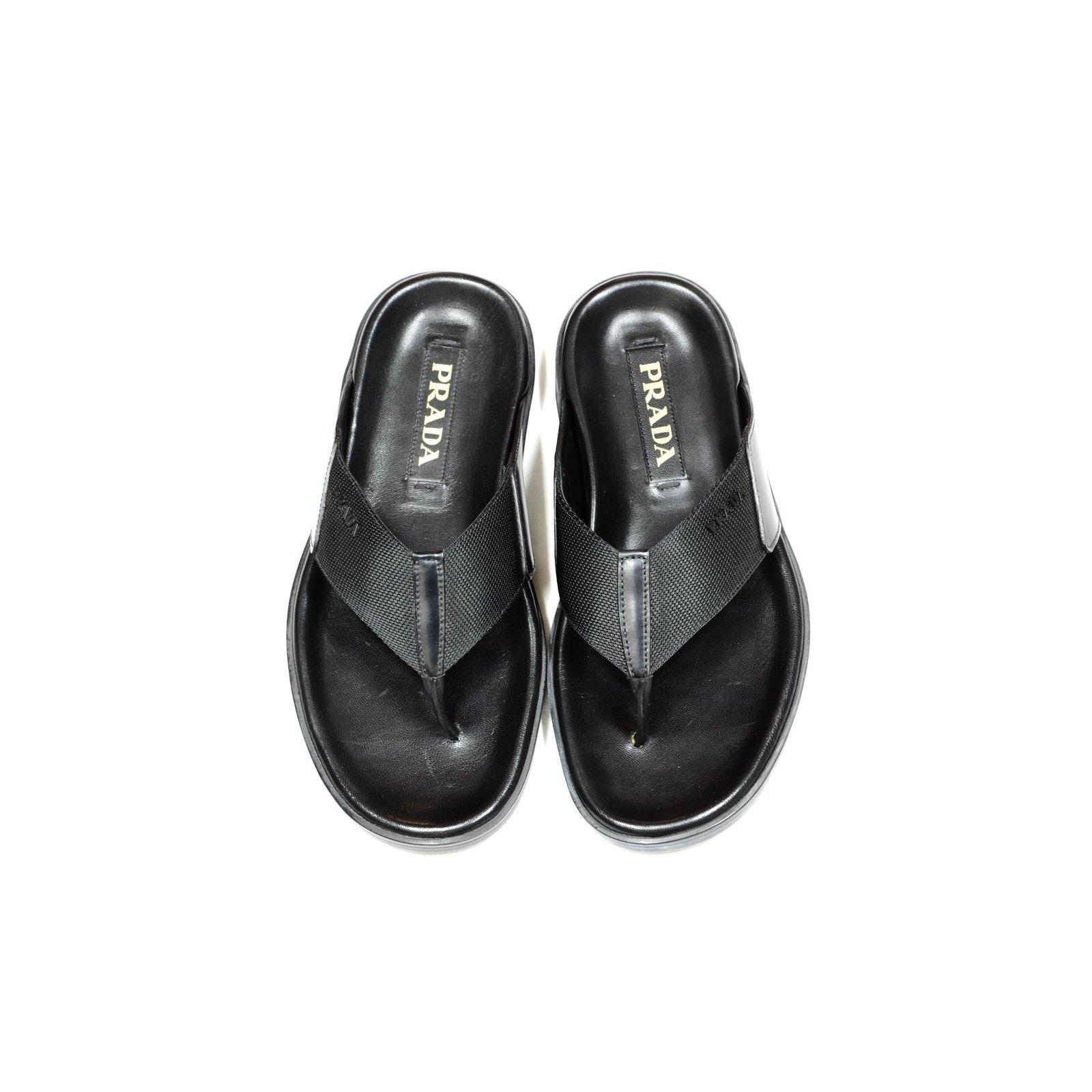 Prada sandals Men Sandals Leather Black