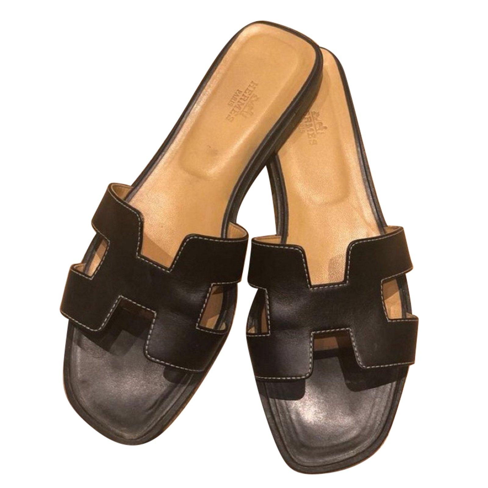 9753747ff0c6 Hermès sandals leather black ref joli closet jpg 1600x1600 Hermes sandals