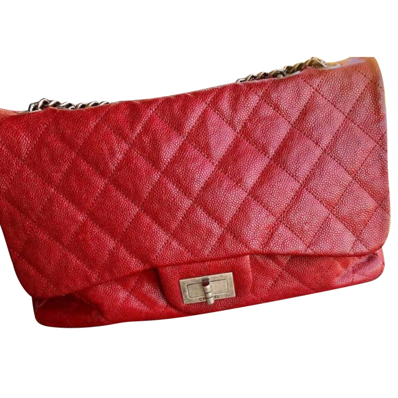 5e1619320759 Chanel 2.55 Handbags Leather Red ref.77272 - Joli Closet