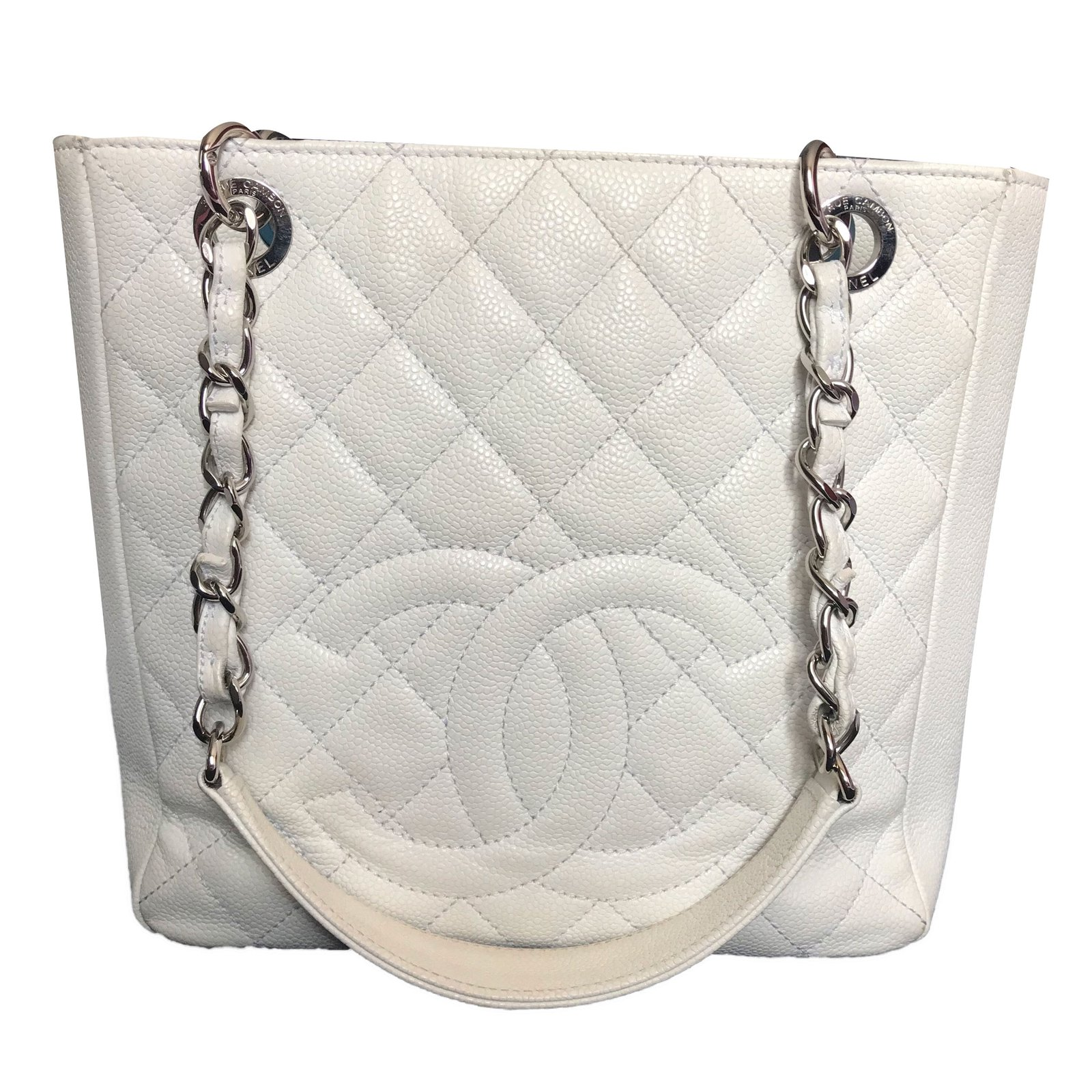 44922abad2a4 Chanel PETITE SHOPPING TOTE Handbags Leather White ref.77420 - Joli ...