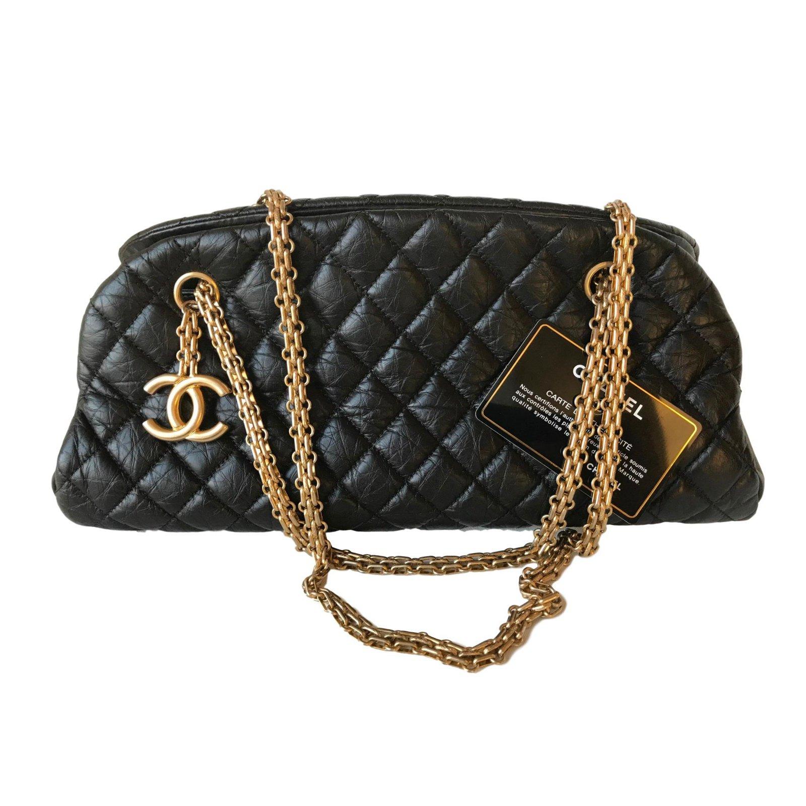 Chanel Chain Mademoie Bowling Bag Handbags Leather Black Ref 77671