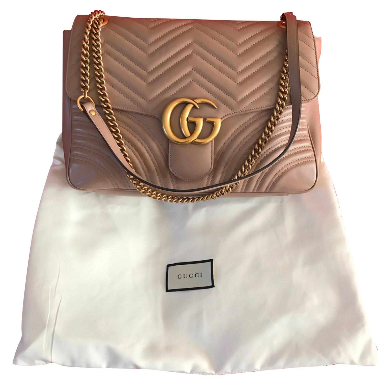 1d221284c216 Gucci GG Marmont medium matelassé chevron shoulder bag in Beige Handbags  Leather Beige ref.77731