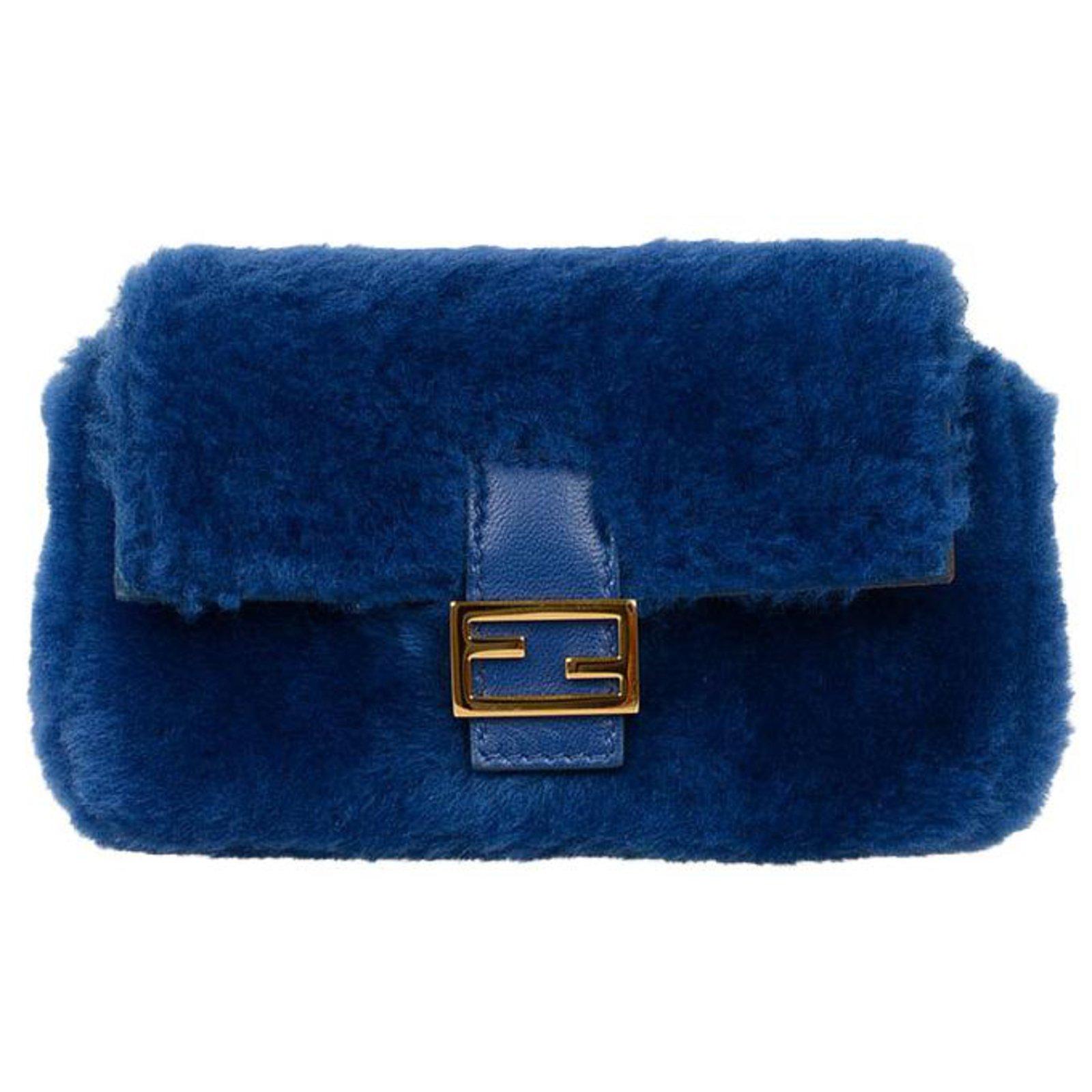 Fendi Handbag Handbags Fur Blue ref.77980 - Joli Closet