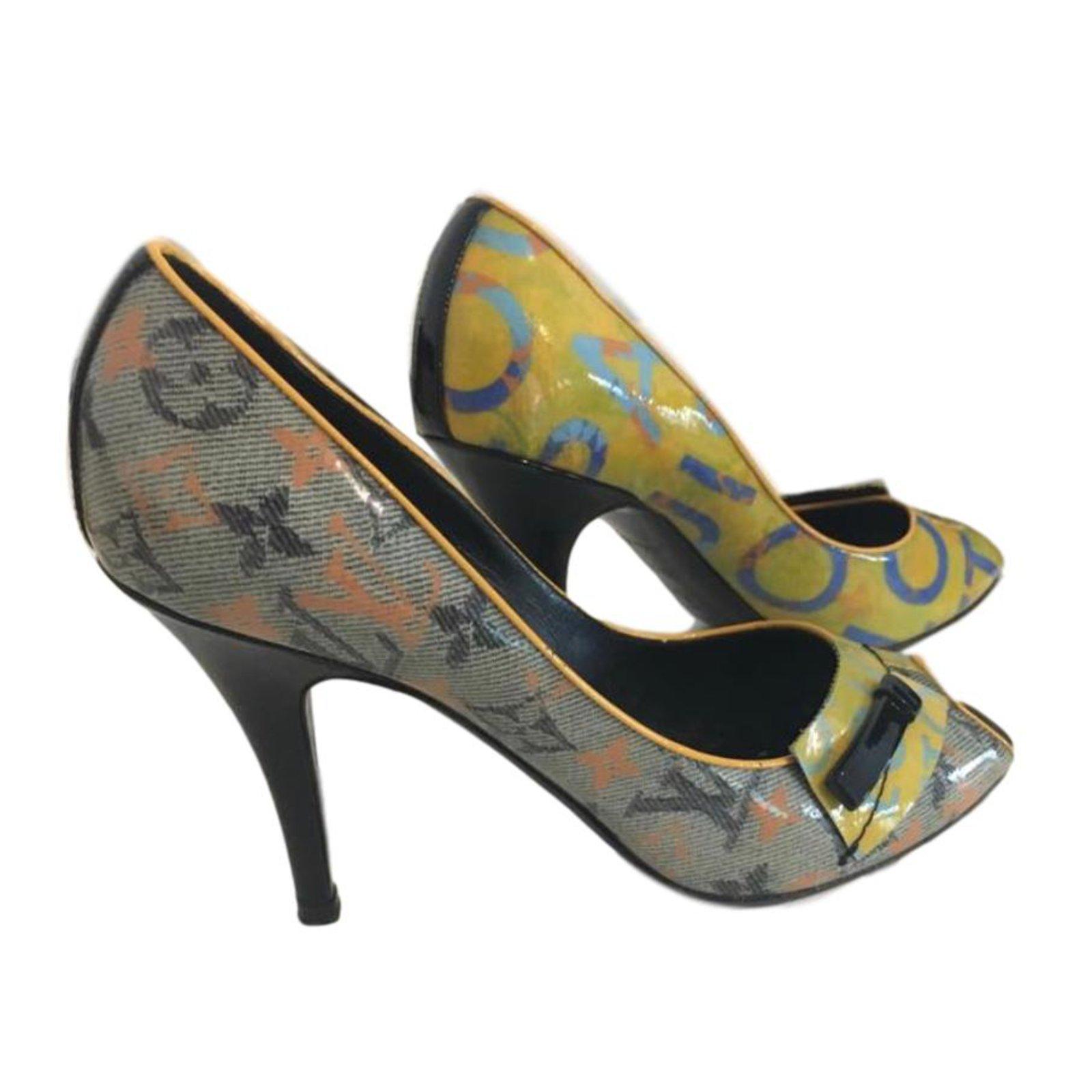 big discount uk store san francisco Louis Vuitton Mongogram peep toe Heels Patent leather Beige ref ...