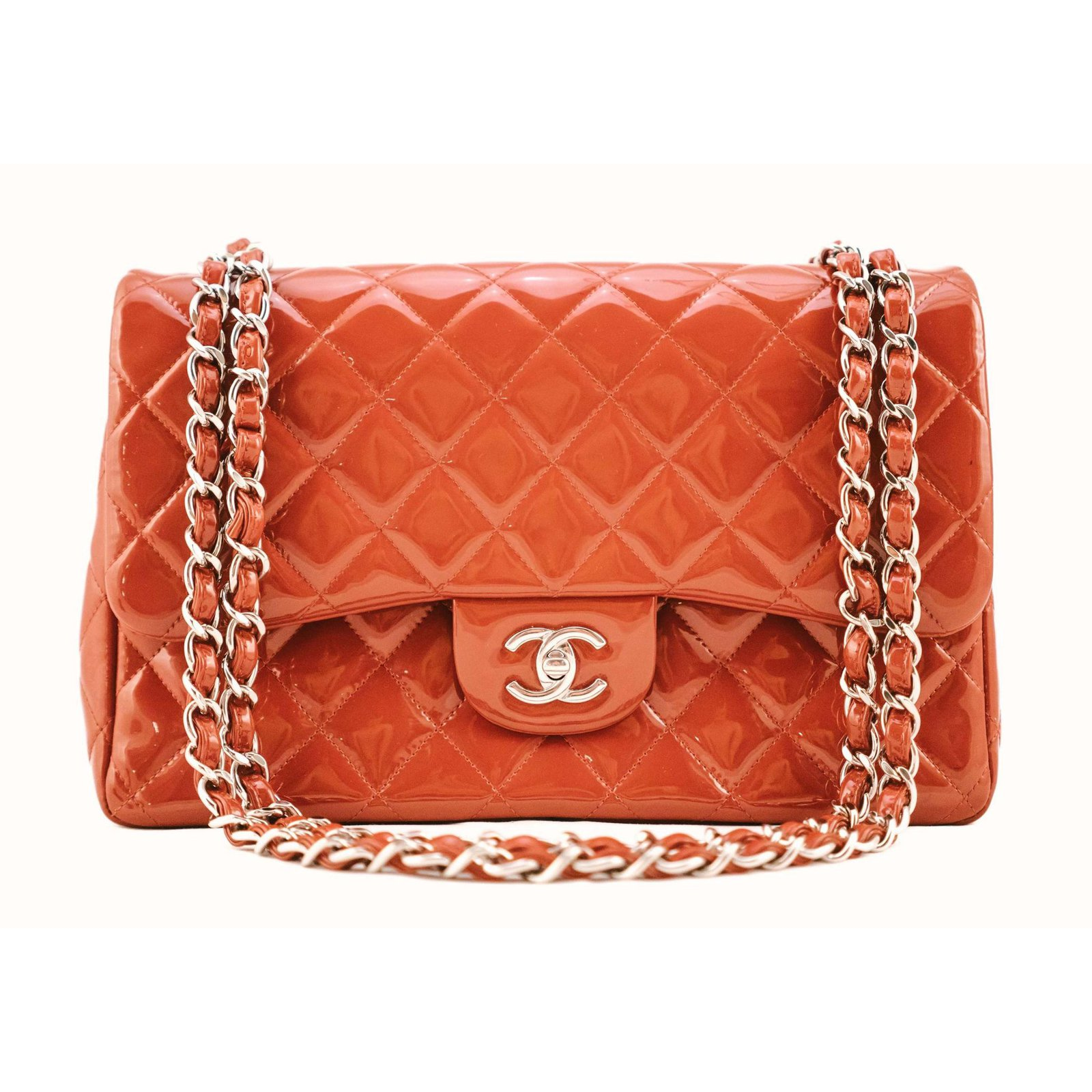 a6081768c7cc Chanel timeless classic jumbo lined flap Handbags Patent leather Red  ref.78311