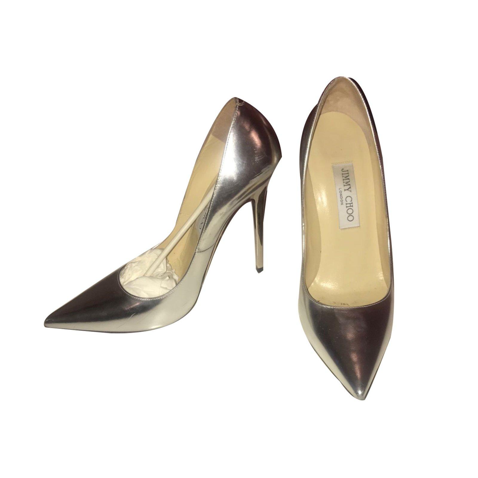 65b92770378 Jimmy Choo ANOUK Heels Patent leather Silvery ref.78609 - Joli Closet