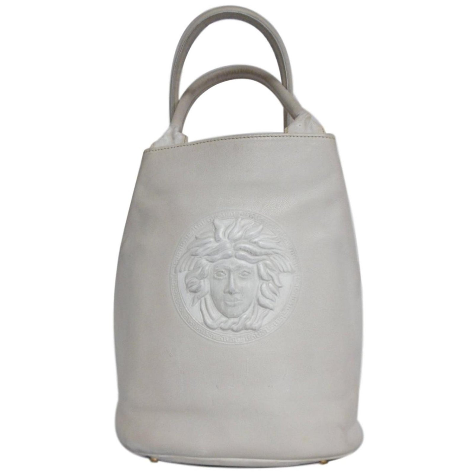 7f80dc5292 Gianni Versace Medusa Bucket Bag Handbags Leather White ref.78928 ...