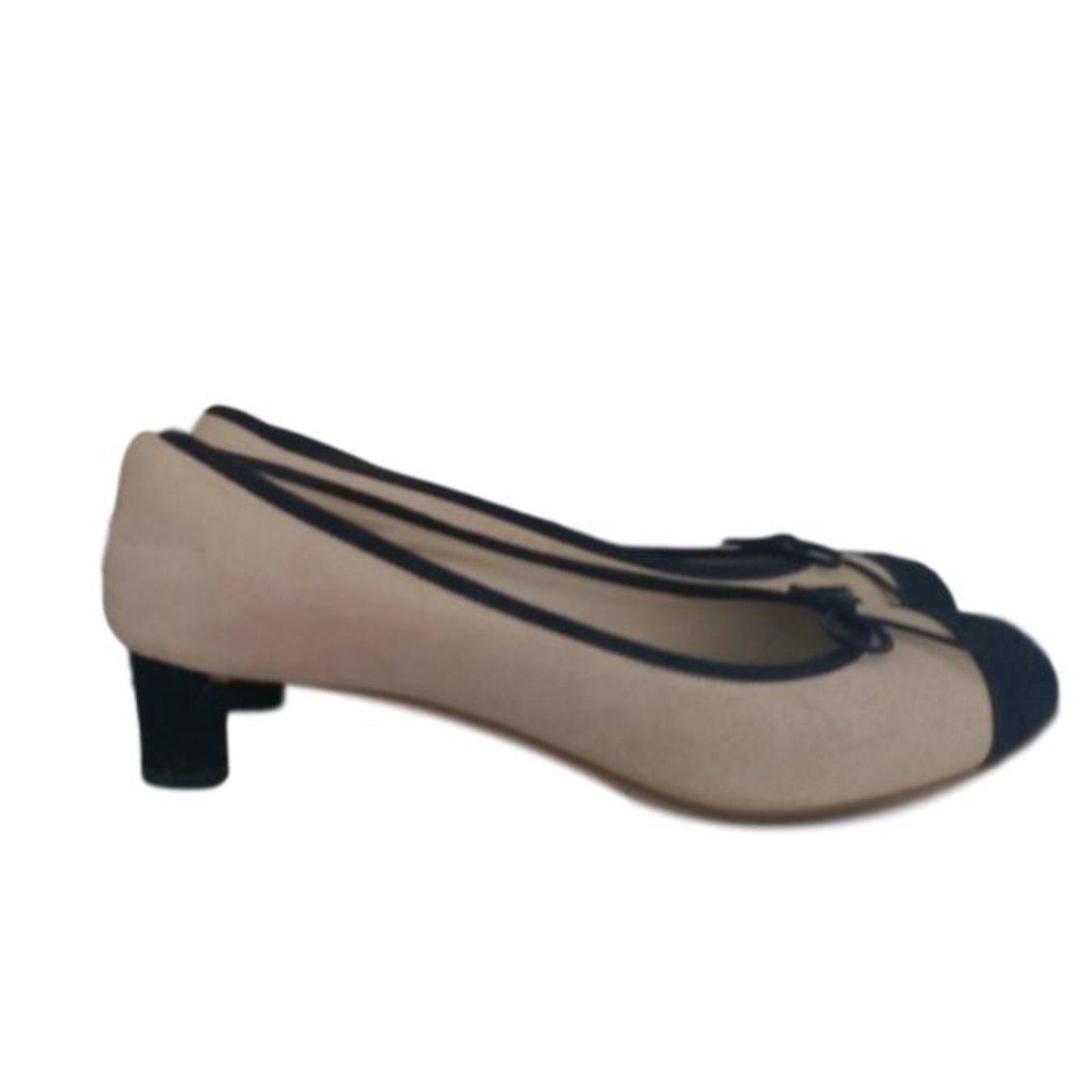 Sandales Chanel Escarpins Cuir Noir Beige Ref 78963 Joli Closet