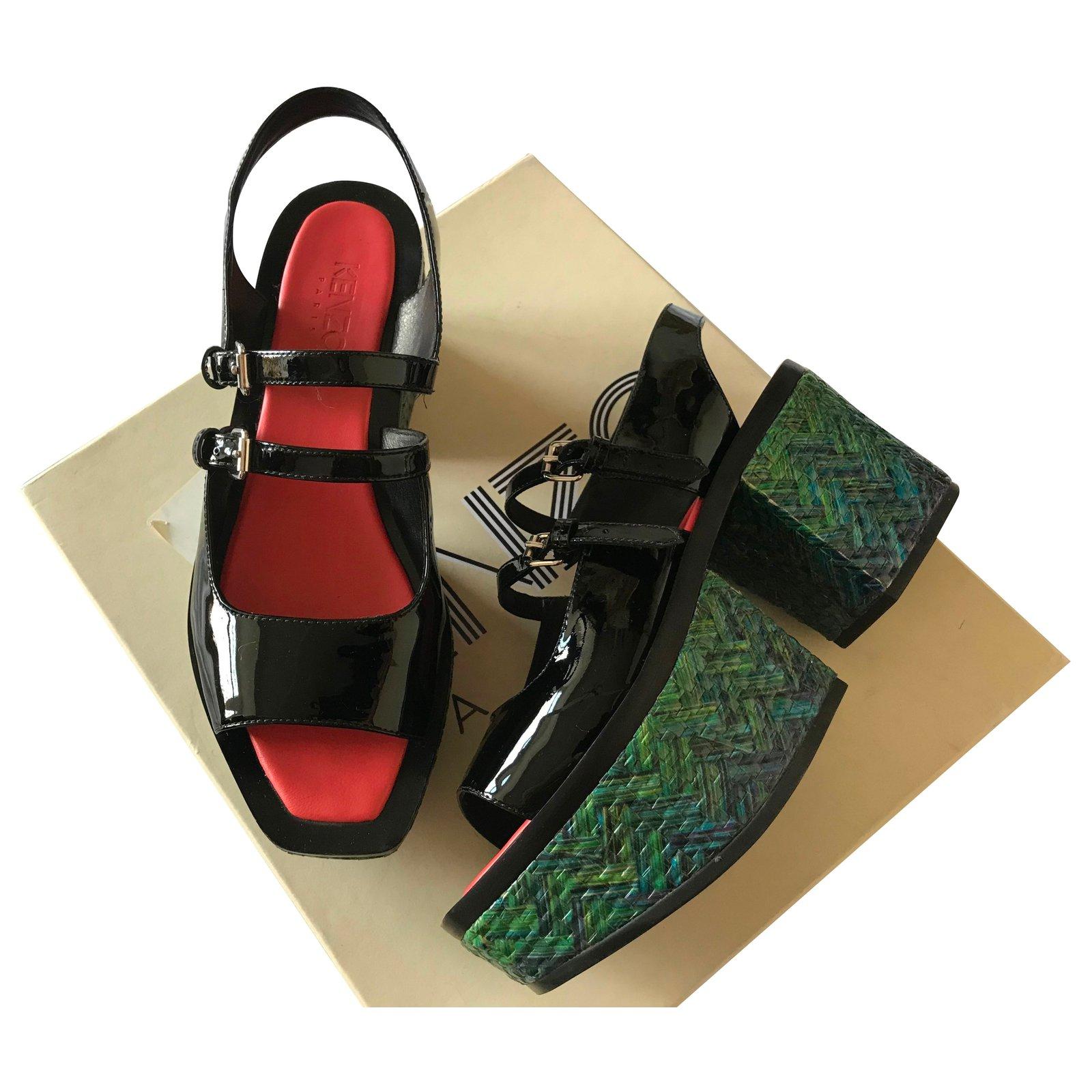 bf51c1f71a6e Kenzo Platform Sandal Sandals Patent leather Black ref.79009 - Joli ...