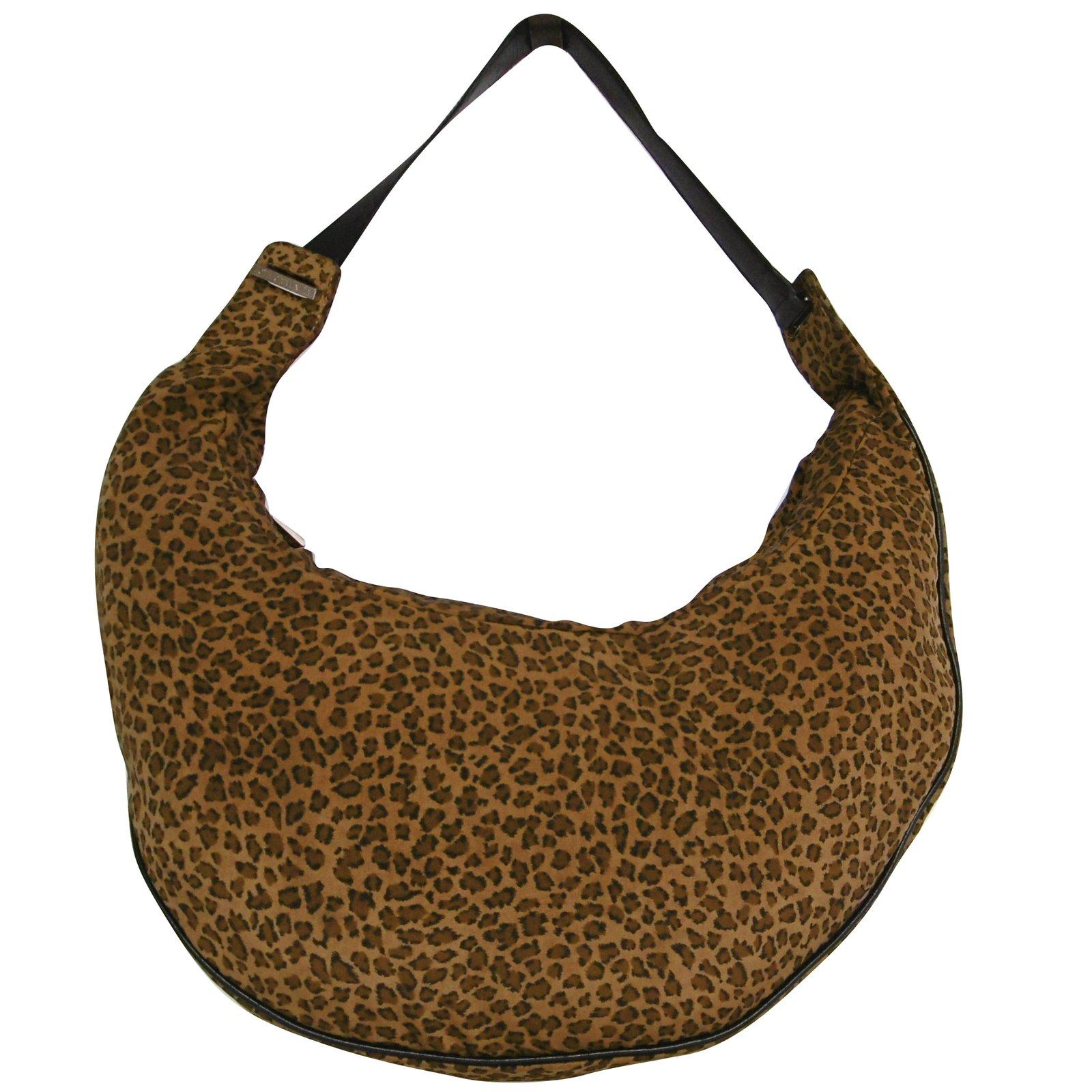 Bottega Veneta Bottega Veneta Leopard Fabric Crescent Shoulder Bag Handbags Leather Cloth Brown Leopard Print Ref 79521 Joli Closet