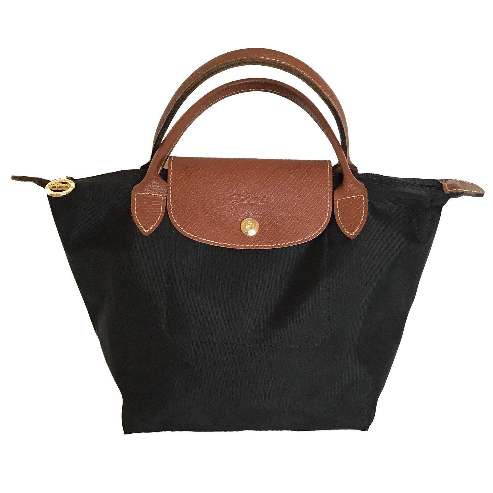 6e37fe845 Longchamp Handbags Handbags Leather,Nylon Brown,Black ref.79592 ...