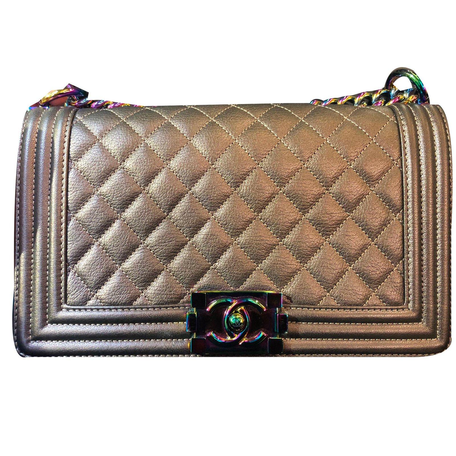 Chanel Bronze Mermaid Boy Bag In Old Medium And Rainbow Hardware Handbags Leather Ref