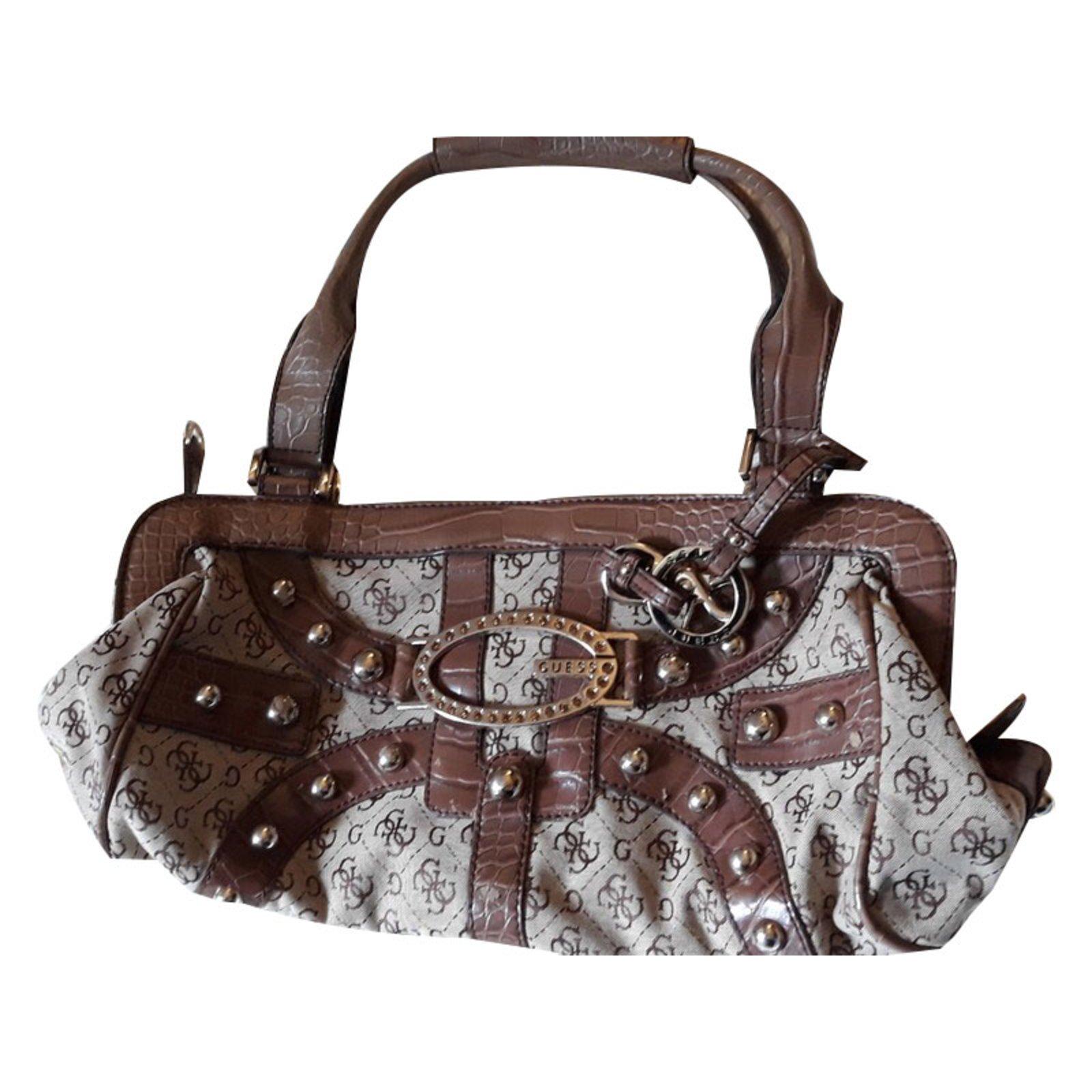 Guess Handbags Cloth Brown Ref