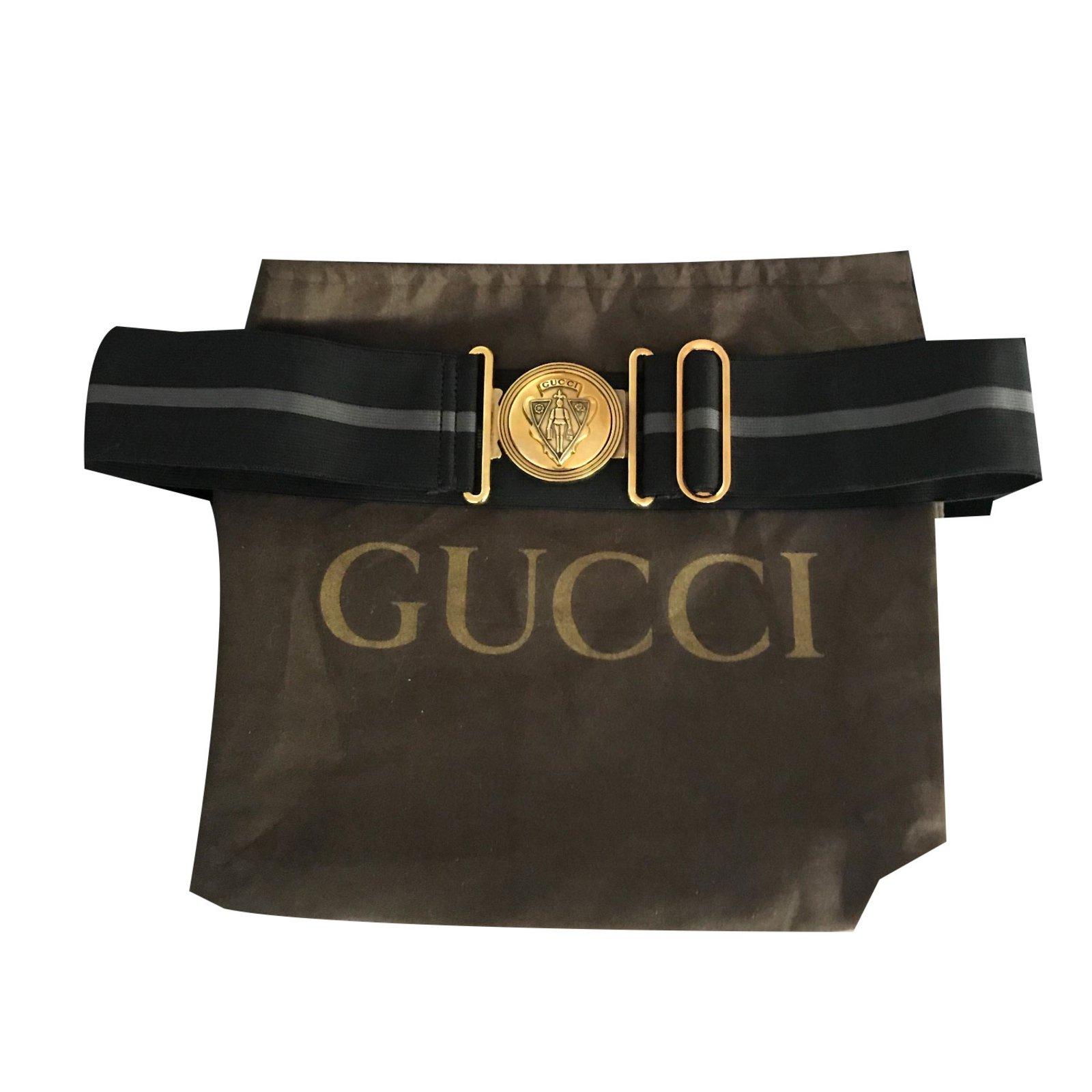 Ceintures Gucci Ceintures Toile Noir,Doré,Gris ref.79639 - Joli Closet 2a622408423