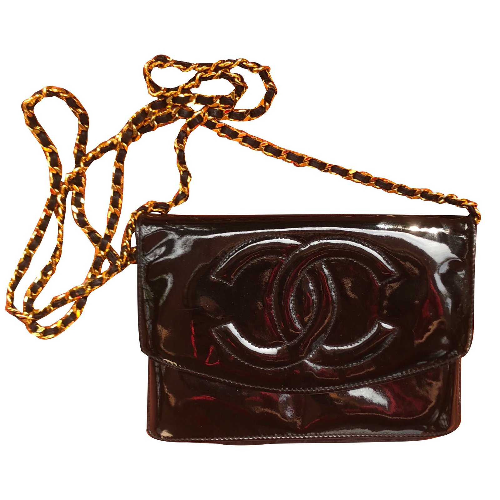 5f3526bd6dab Chanel wallet on chain Clutch bags Patent leather Black ref.80572 ...