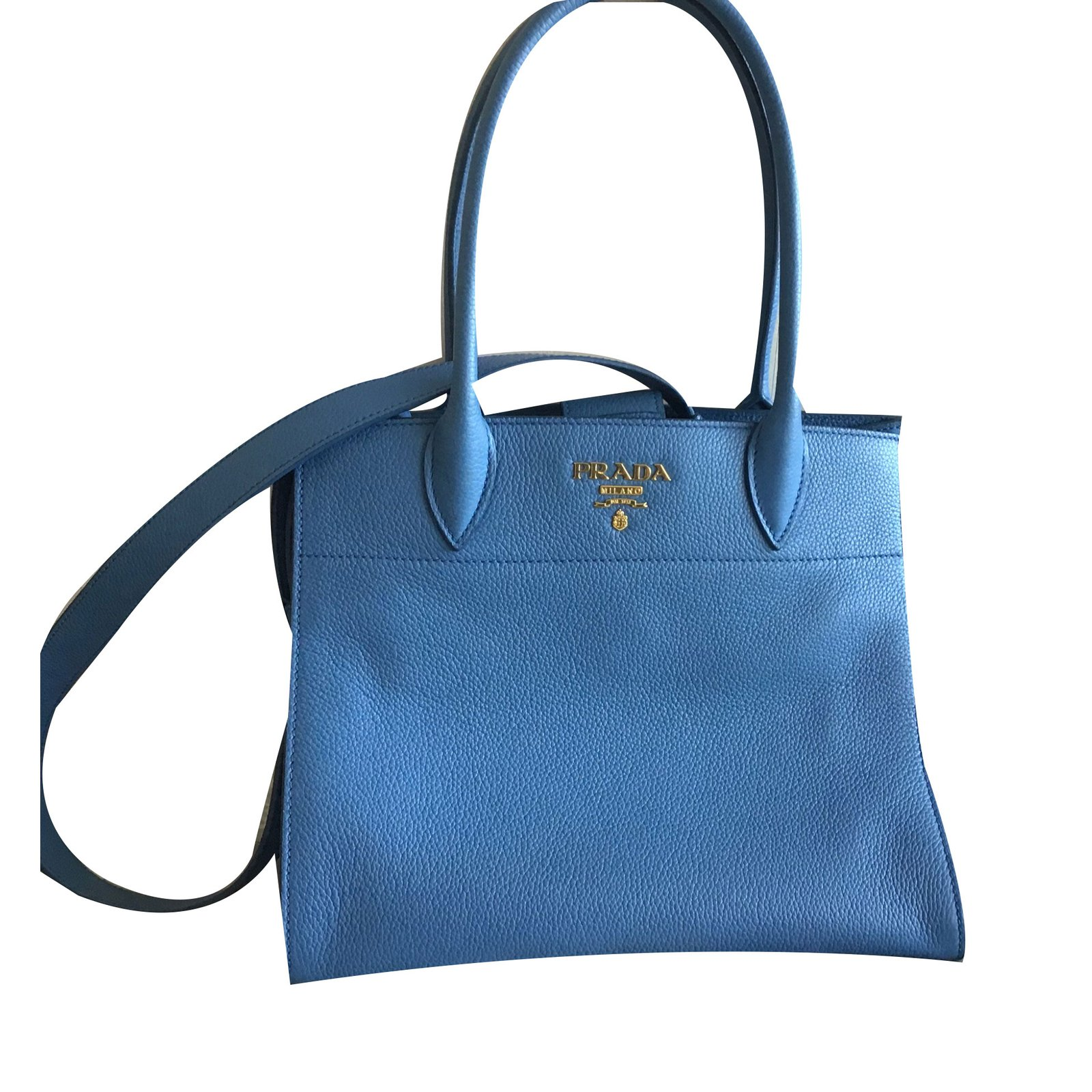 784079220b88 ... get prada handbags handbags leather blue ref.80898 ffbd5 322ee