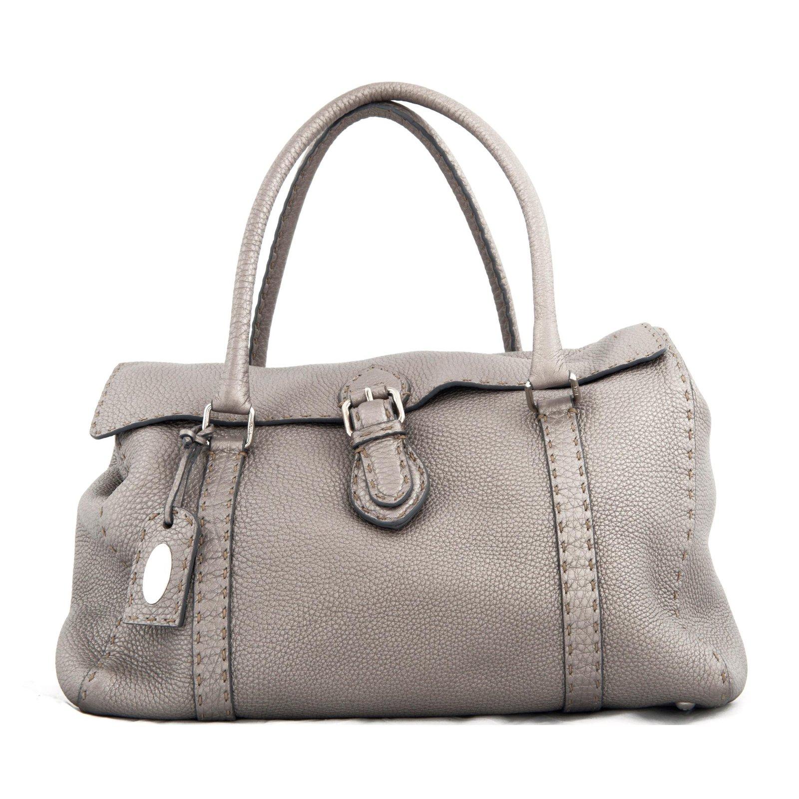 f4ae5c06e41e Fendi Grey leather   Selleria   shoulder bag Handbags Leather Grey ...
