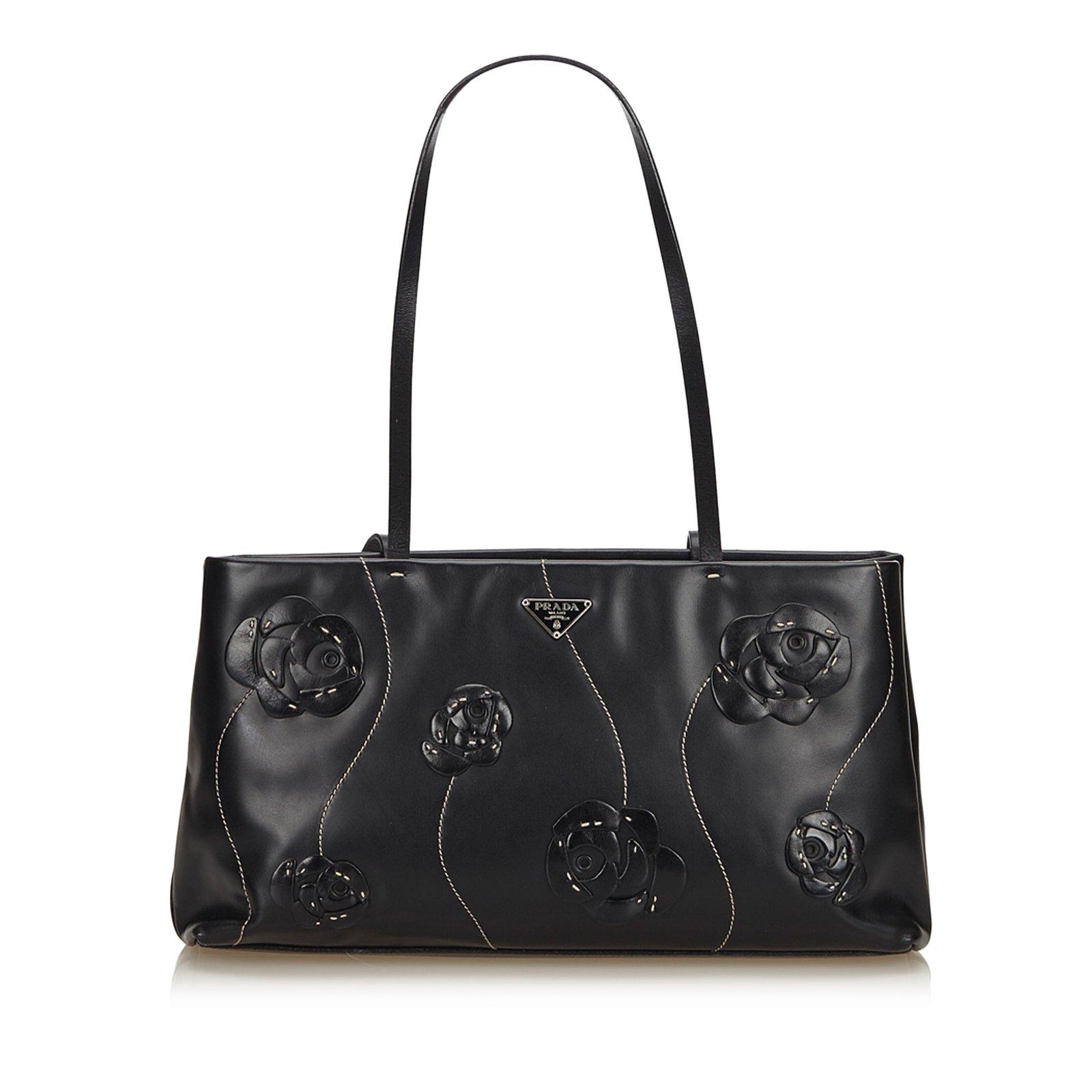 87f1e0a6cf7339 Prada Embelllished Flower Leather Shoulder Bag Handbags Leather,Other Black  ref.82440