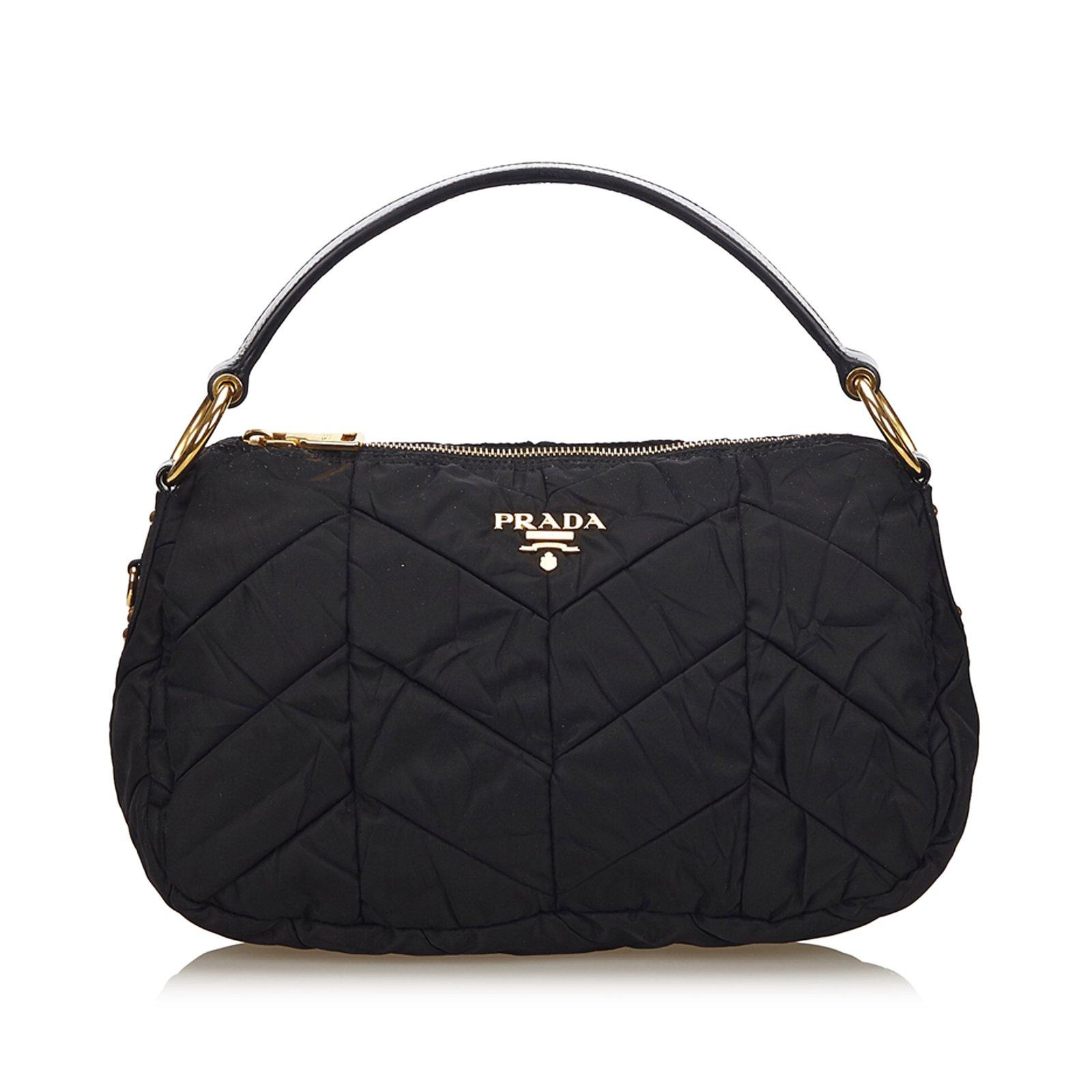 bf9e019bdbc0 ... uk prada nylon tessuto handbag handbags leatherpatent leathernyloncloth  black ref. 71137 d1c4a
