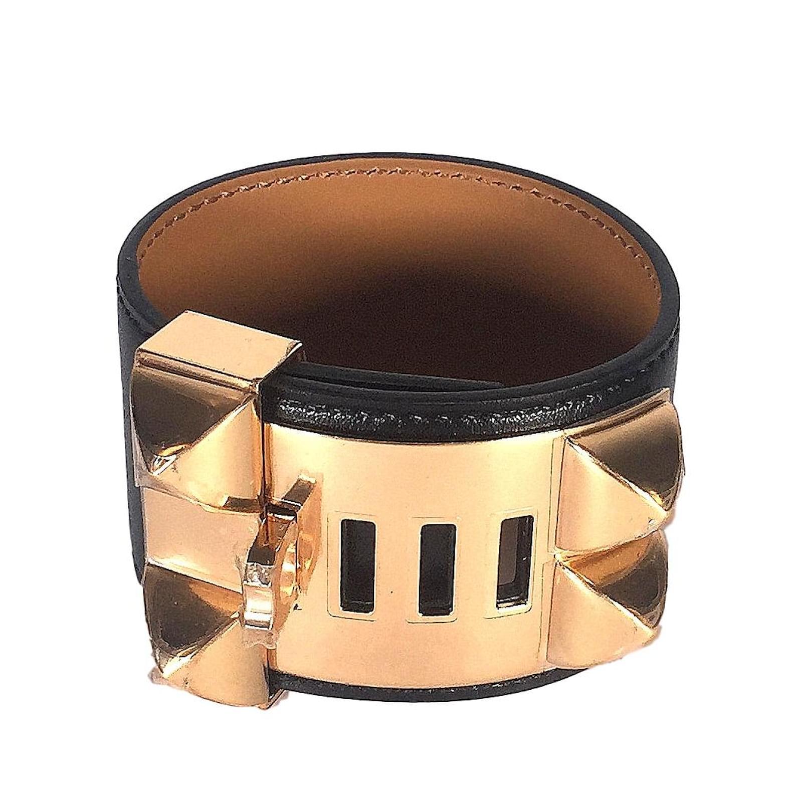 spain bracelets hermès collier de chien cuir noir ref.82659 535eb c58cb 36098549d39