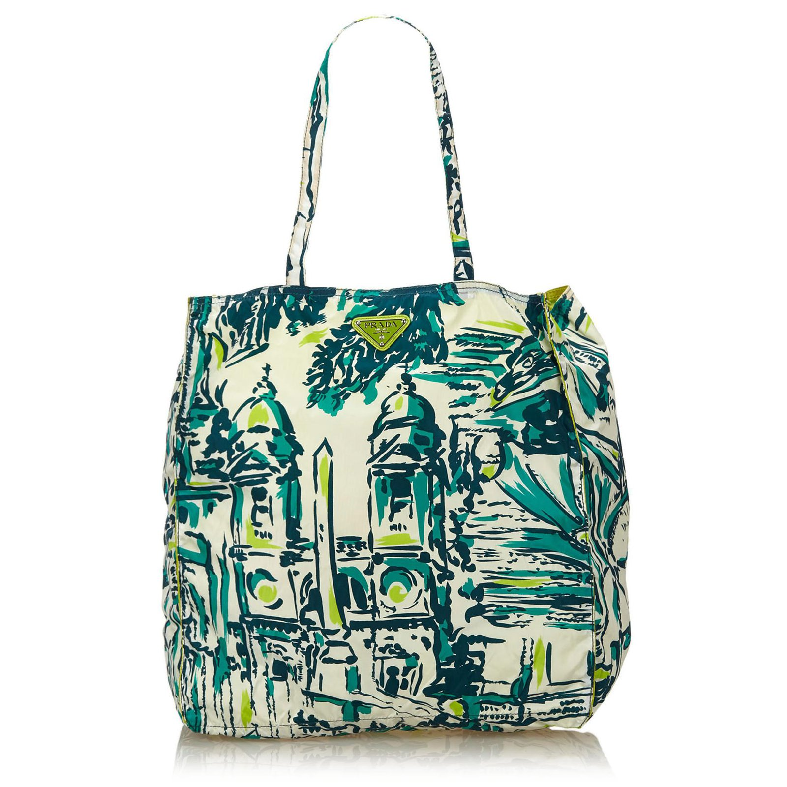1d53b613b2ac Prada Printed Nylon Tote Bag Totes Nylon,Cloth Multiple colors,Green  ref.82797