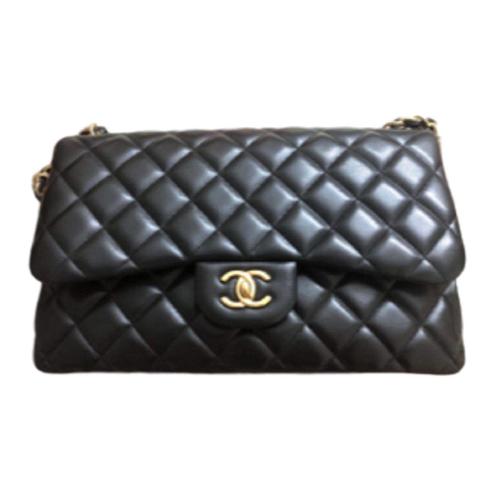 4fd0deacd4b0 Chanel Chanel Classic Black lambskin Jumbo Flag bag Handbags Lambskin Black  ref.83500