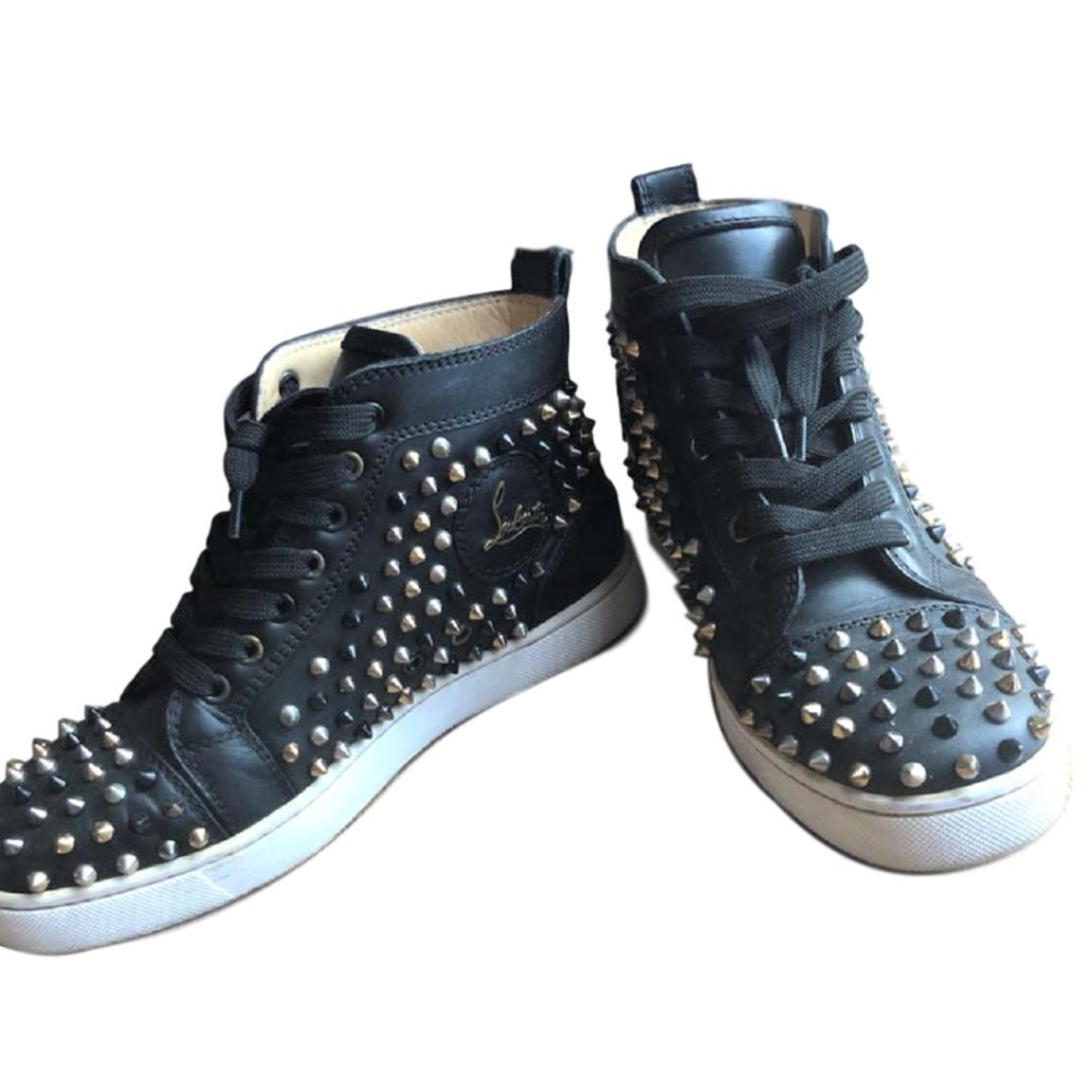 5ce9408cbcd Christian Louboutin Black spiked lace up sneakers Sneakers Leather Black  ref.84127