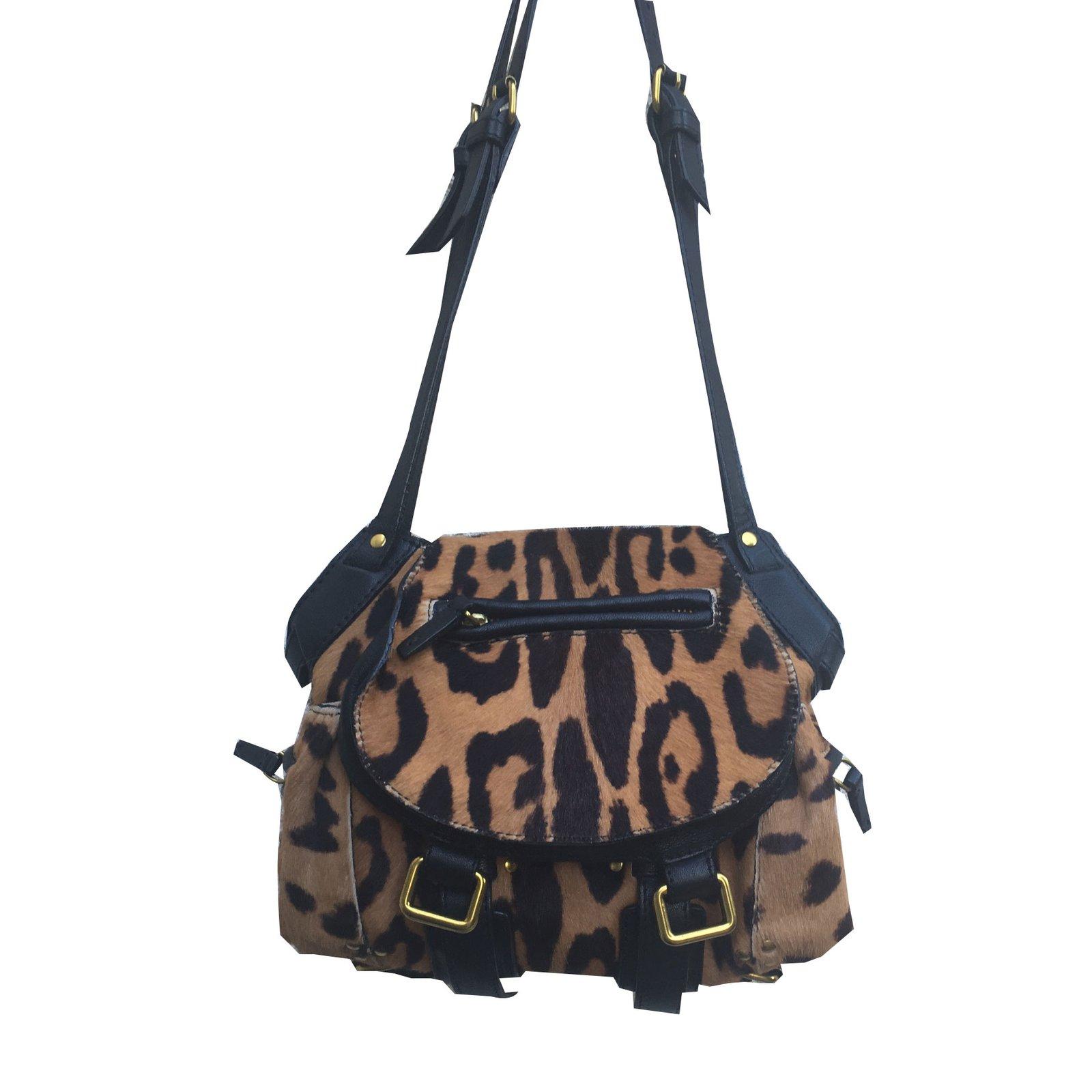 Jerome Dreyfuss Handbags Pony Style Calfskin Leopard Print Ref 84155
