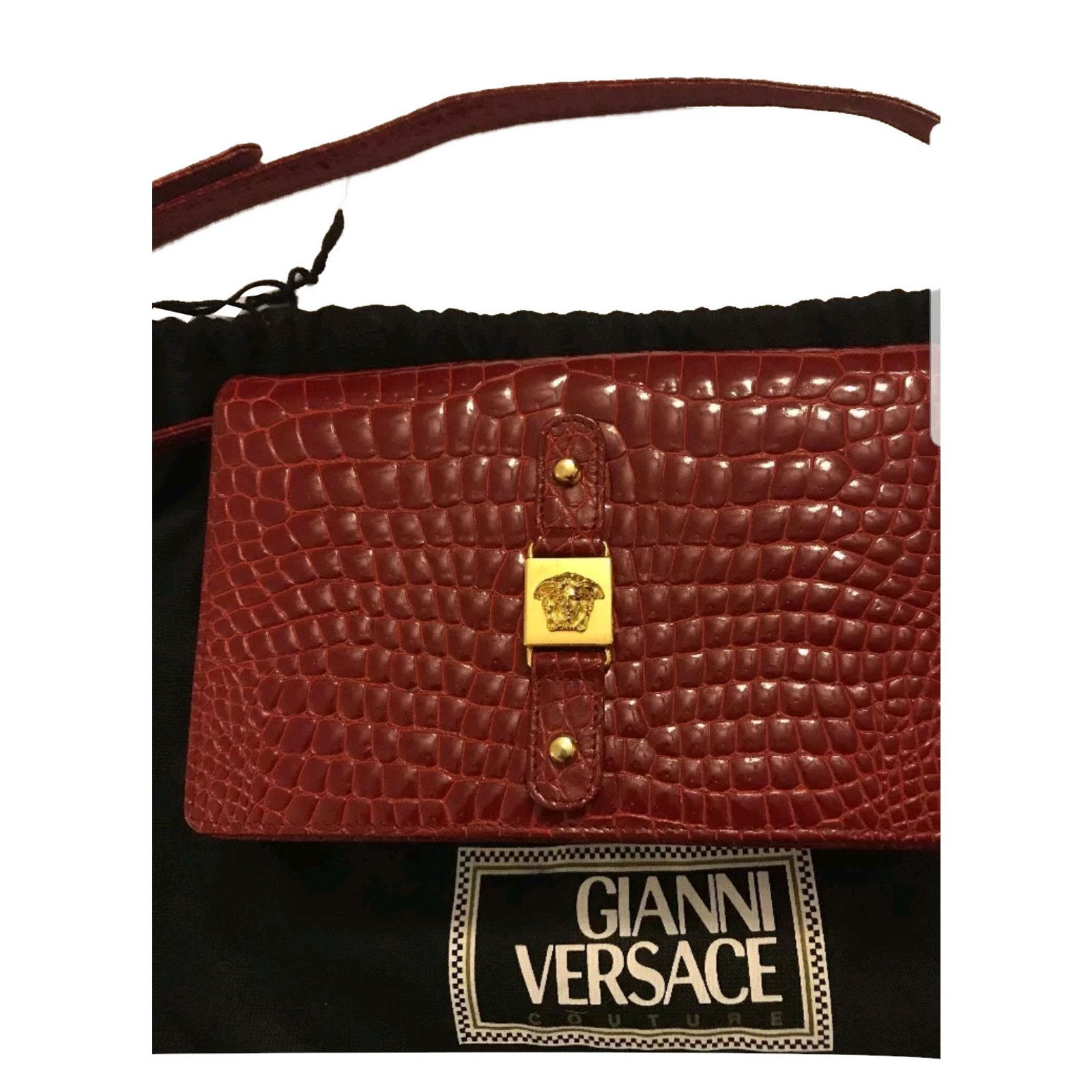 2331bfb8ed Gianni Versace vintage couture croc bag Handbags Leather Dark red ref.84315