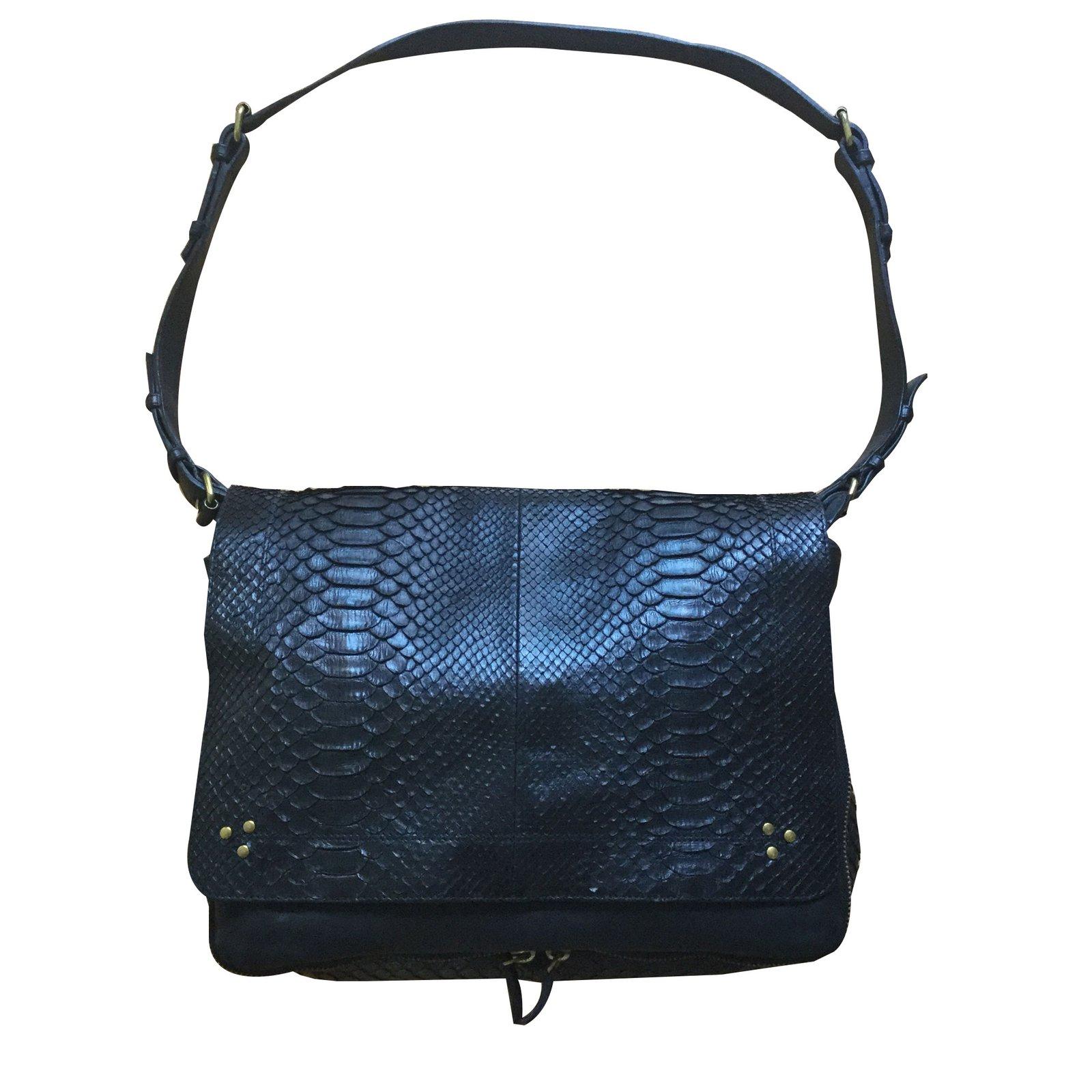 b56620741ad78 Jerome Dreyfuss albert Handbags Python Black ref.85065 - Joli Closet