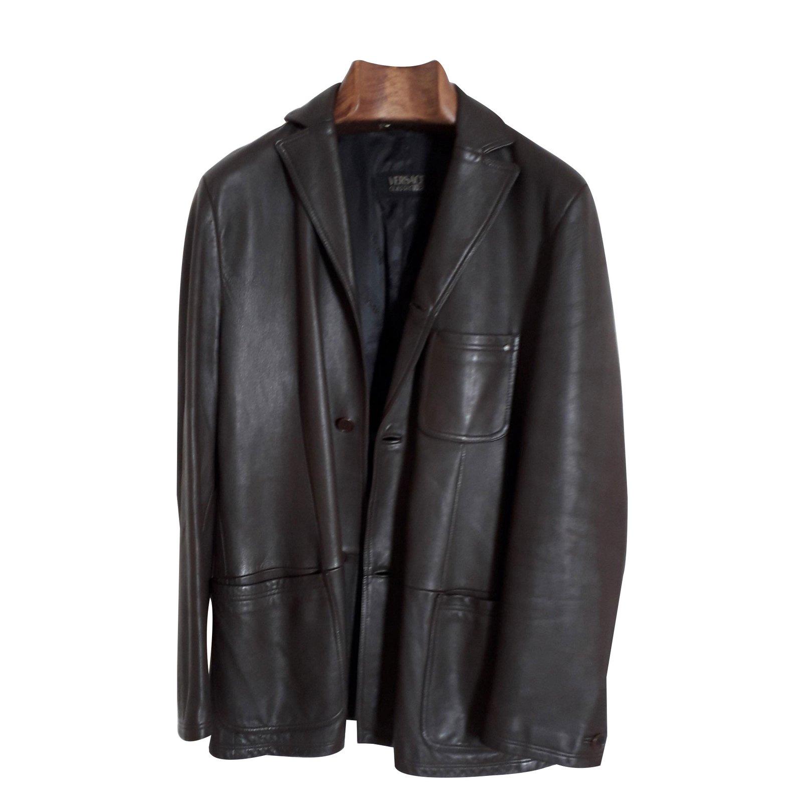Ref Blousons Veste Joli Foncé Marron Versace Vestes Closet 85075 Cuir EZBwxYqYC