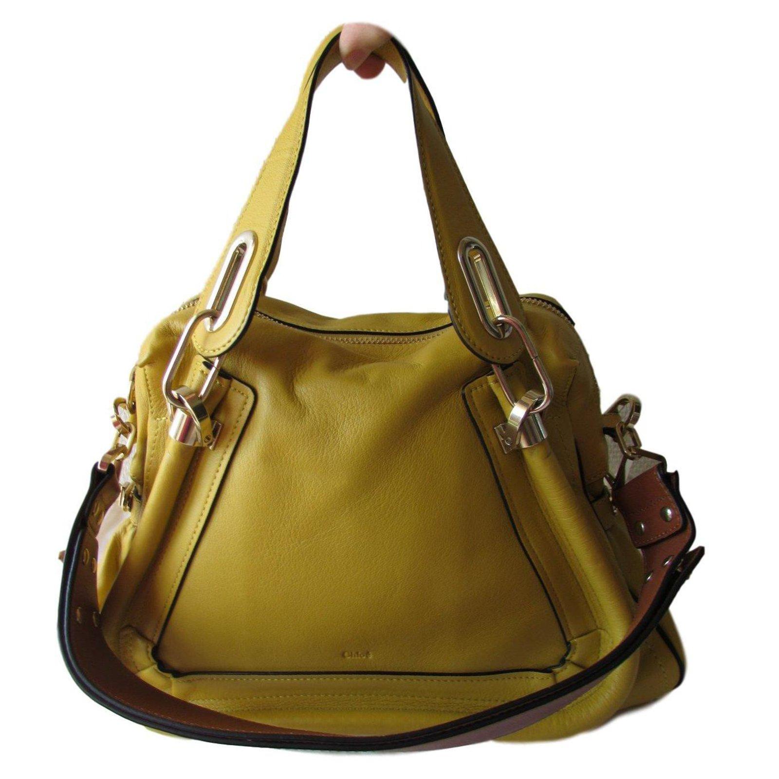 sacs main chlo sac main cuir marron moutarde ref. Black Bedroom Furniture Sets. Home Design Ideas