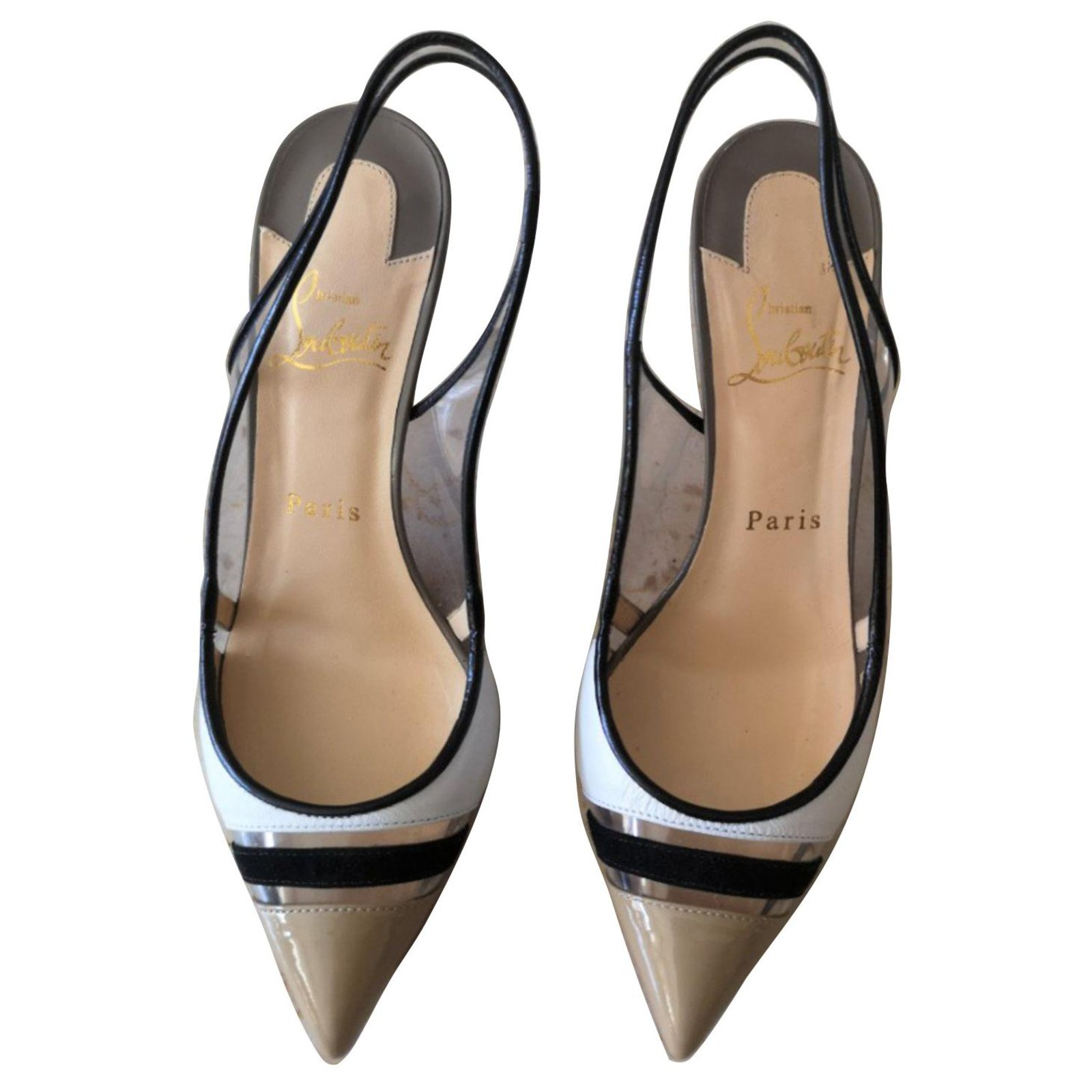 outlet store 84be5 6dc5a Christian Louboutin black, white and nude patent slingbacks heels