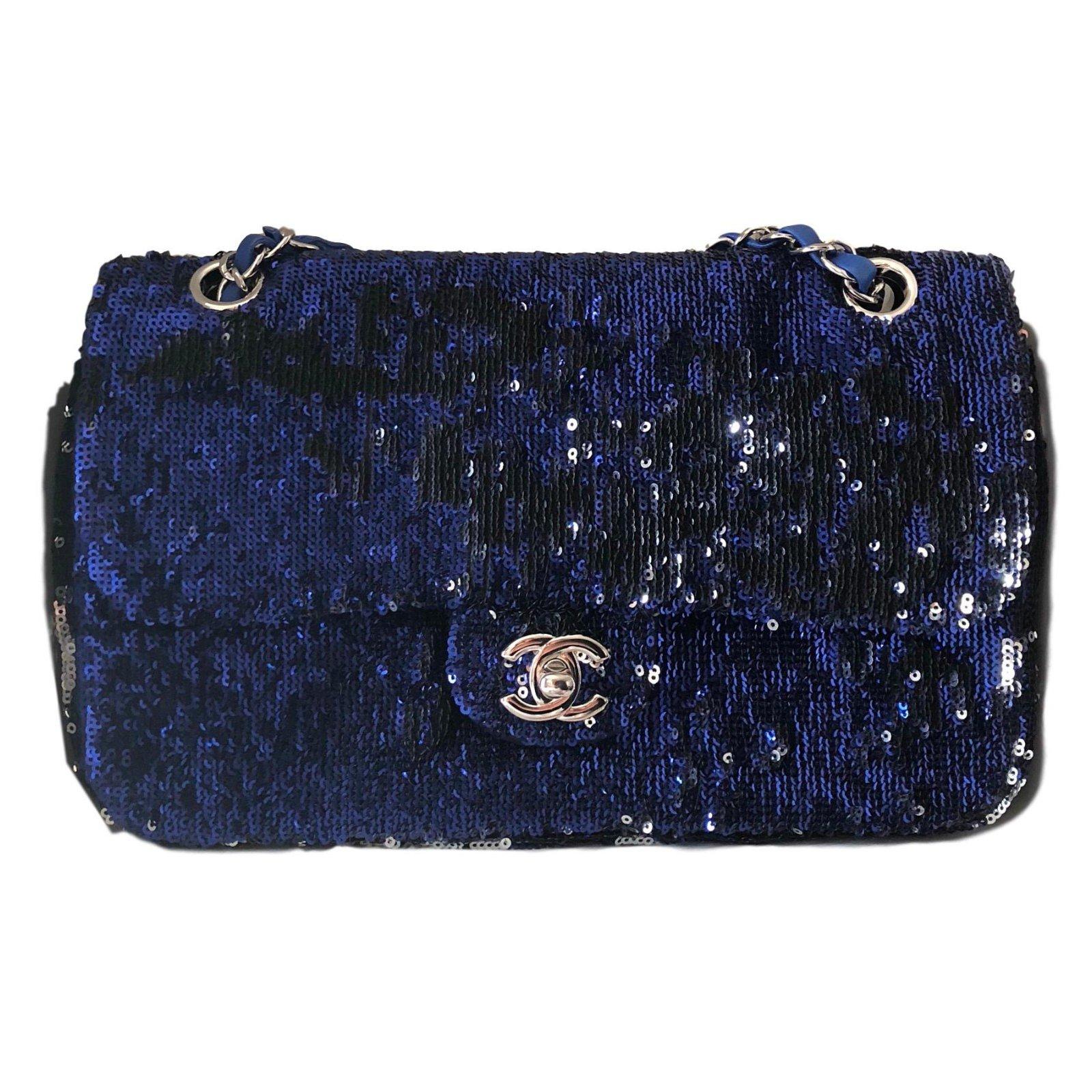 0630dbd045 Sacs à main Chanel Sac à main Cuir,Tissu,Satin Argenté,Bleu,Bleu ...