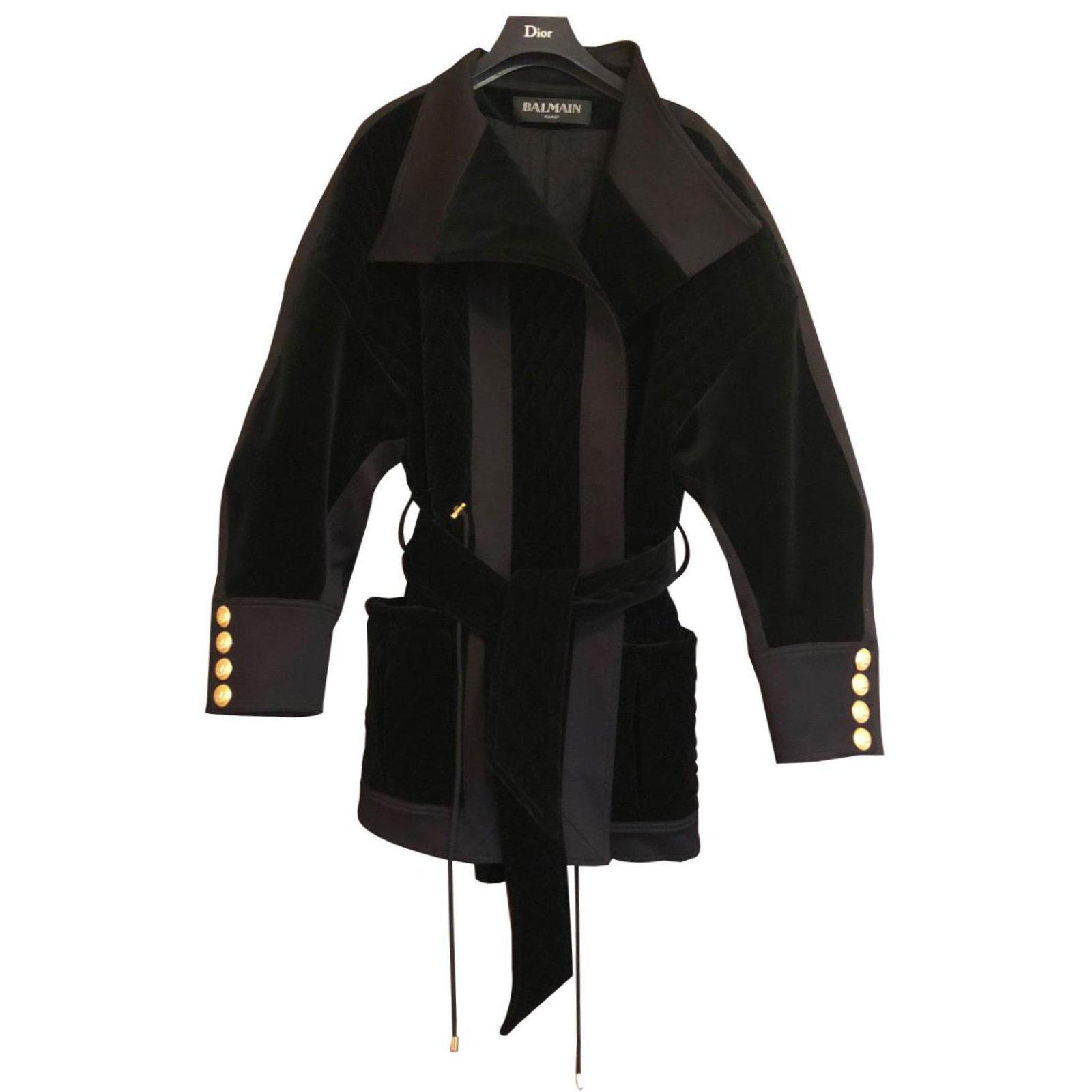 1c4b4000d37 Balmain Coat Coats, Outerwear Cotton Black ref.85833 - Joli Closet