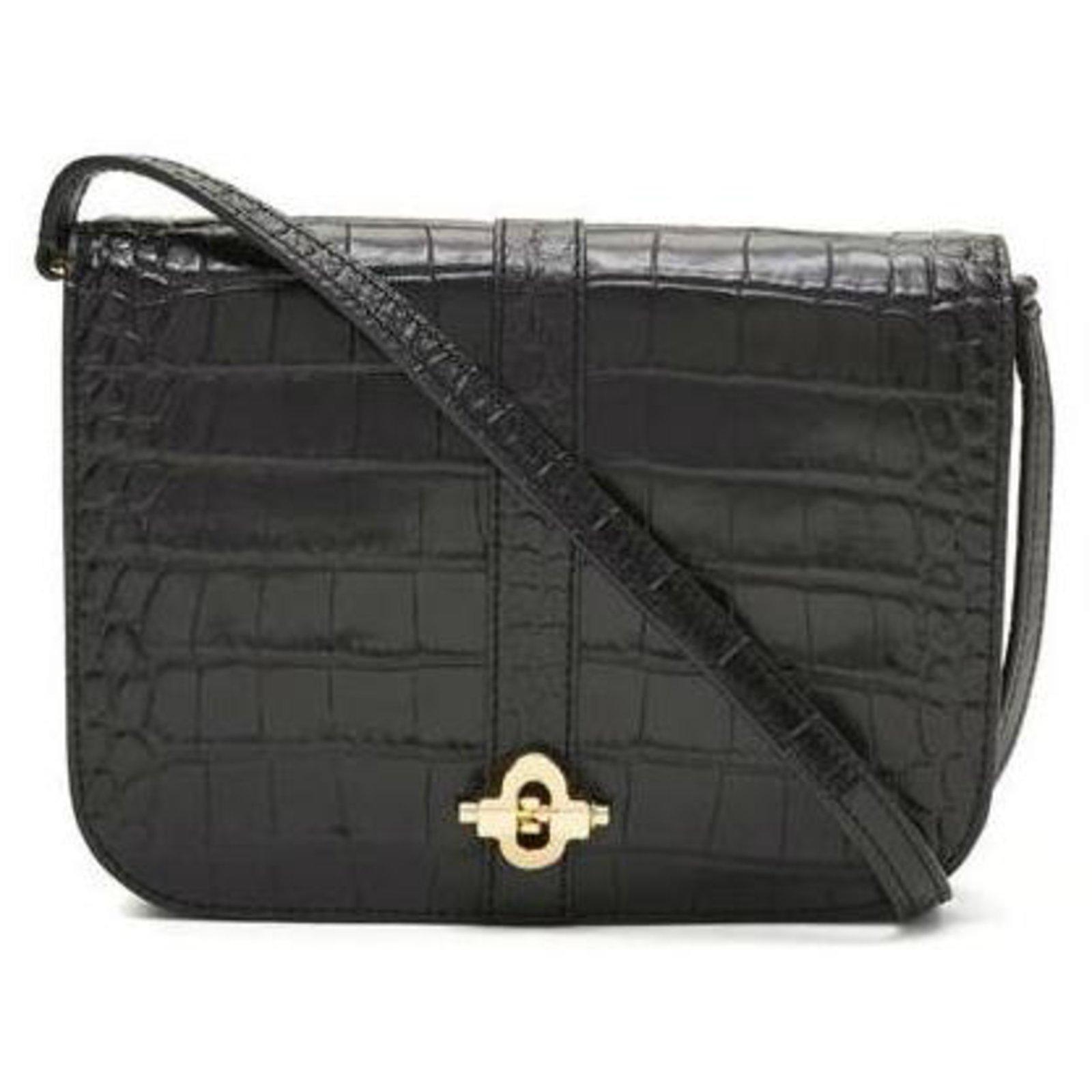Banana Republic Black leather bag crocodile pattern banana republic  Handbags Patent leather Black ref.86054 25d69035d8907