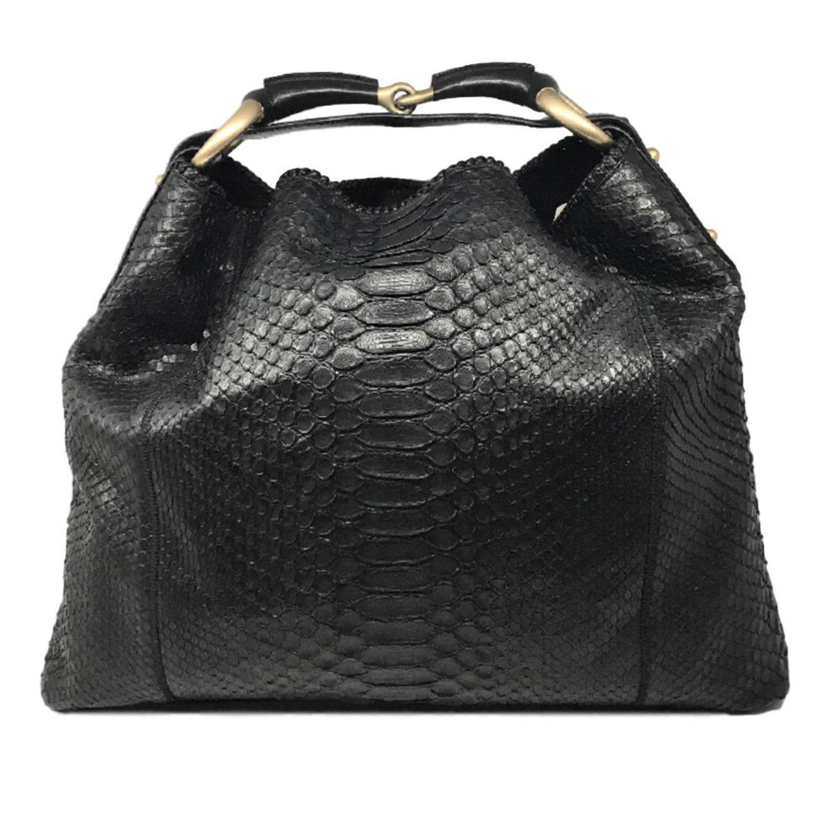 a21c796b5219d9 Gucci Horsebit Python Hobo bag Handbags Exotic leather Black ref.86553