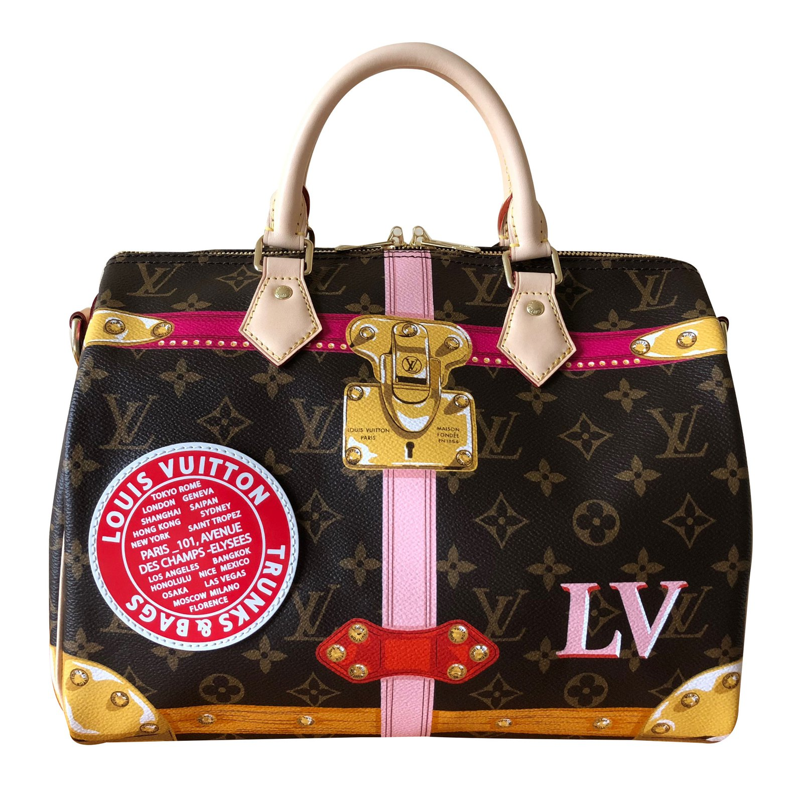 f770aaf46dd0a8 Louis Vuitton Speedy Shoulder Strap 30 Handbags Cloth Multiple colors  ref.86661