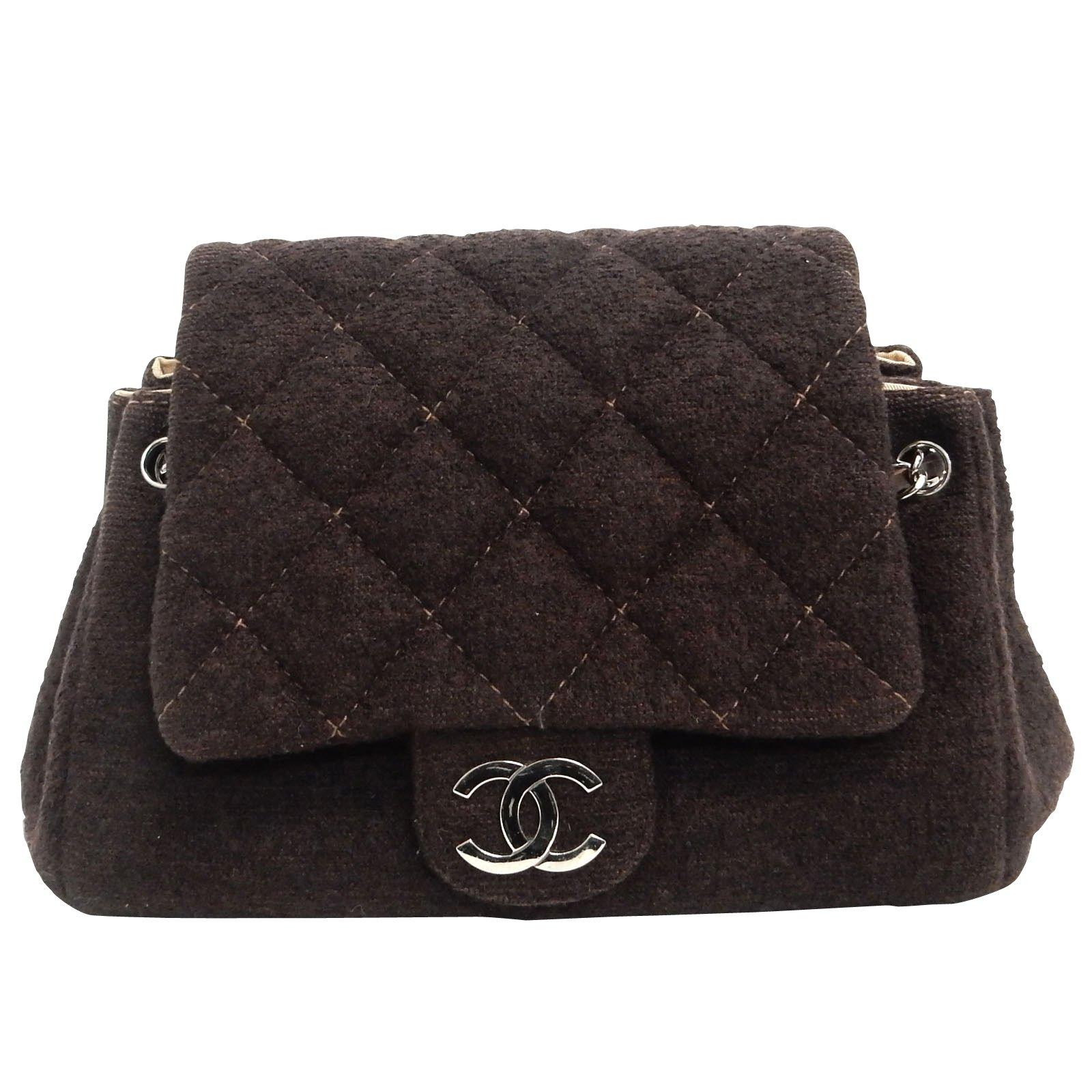 c1e814009427 Chanel Tweed Dark Brown Handbags Tweed Brown ref.86804 - Joli Closet